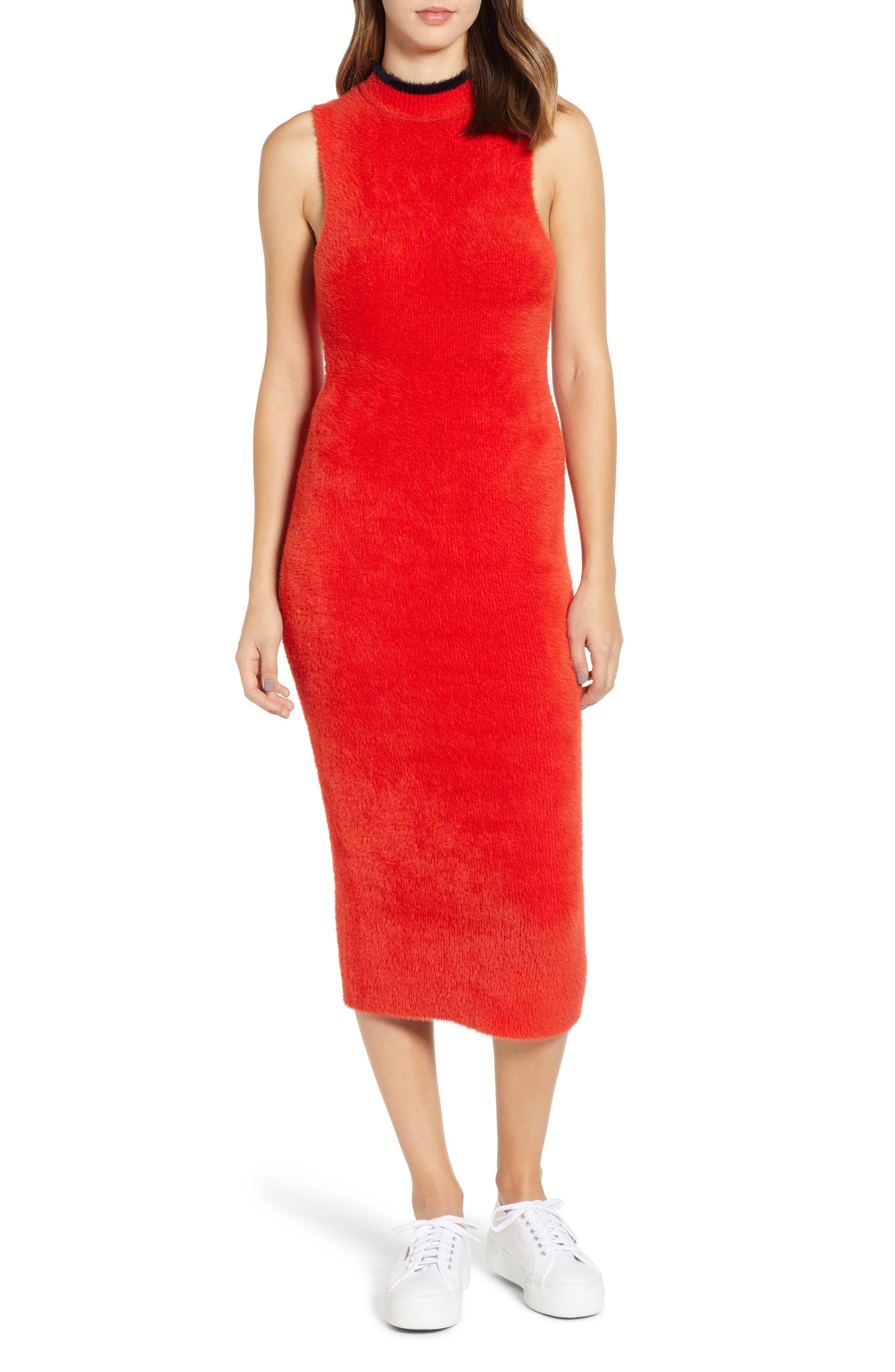 Splendid Piuma Sleeveless Sweater Midi Dress, Red