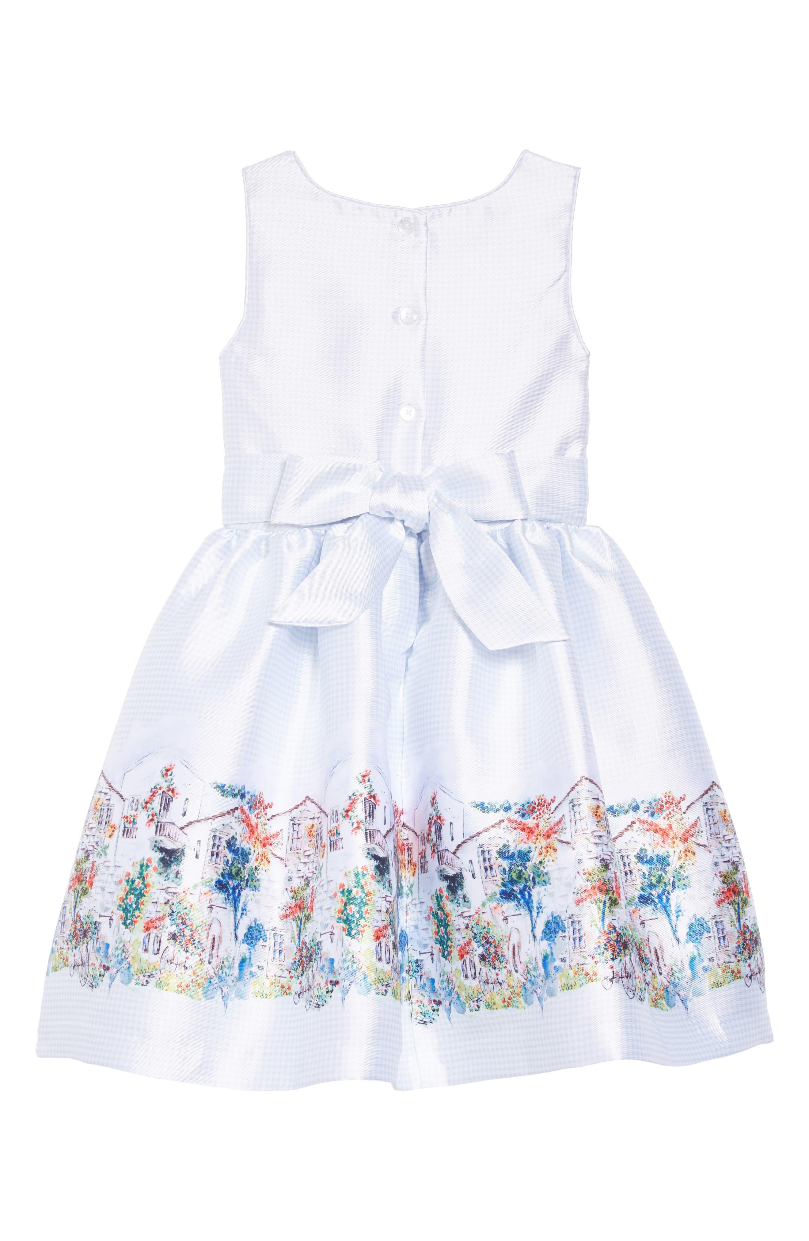 PIPPA & JULIE, Border Print Gingham Dress, Alternate thumbnail 2, color, GREY/ WHITE