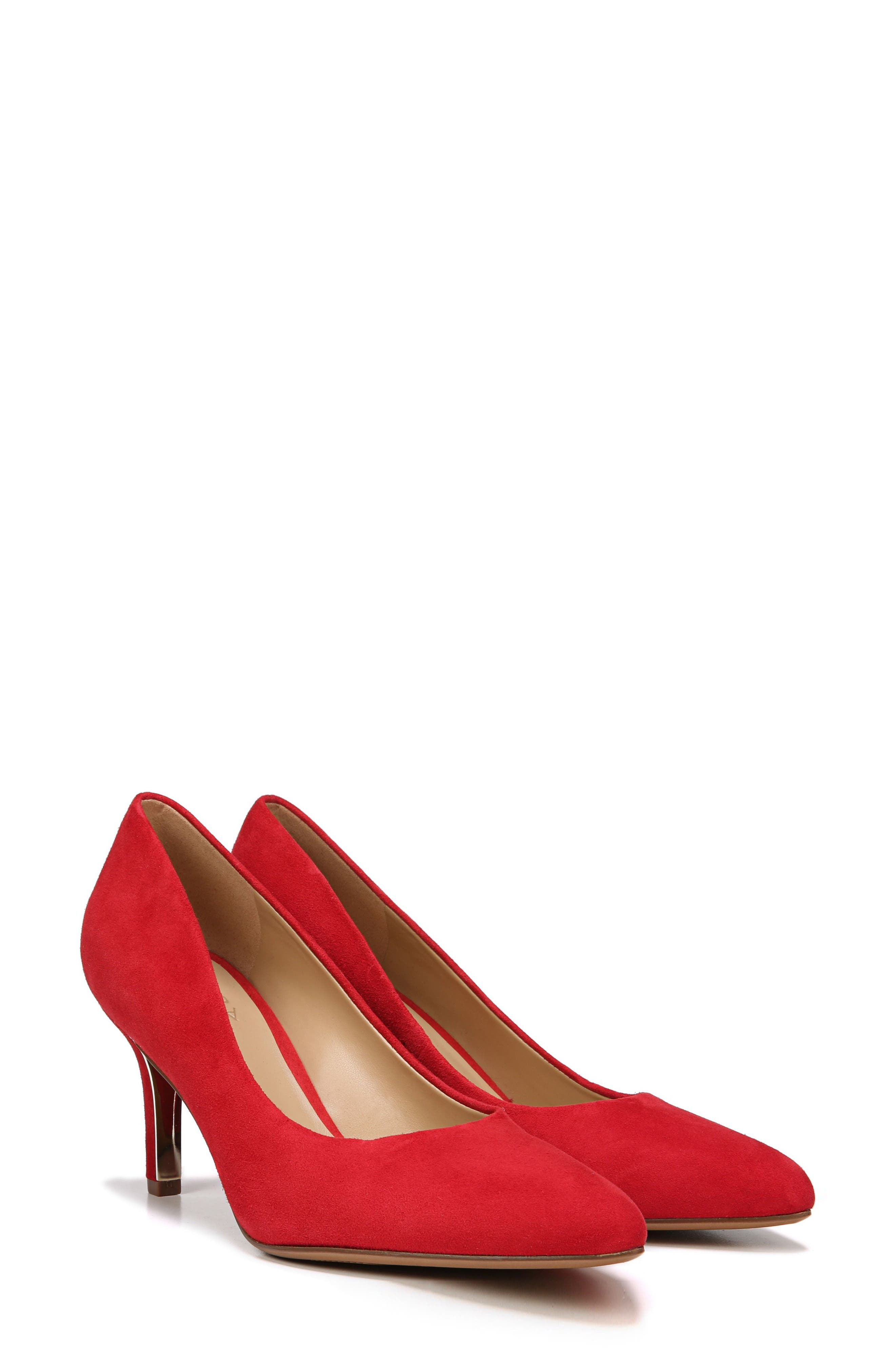 NATURALIZER, Natalie Pointy Toe Pump, Main thumbnail 1, color, RED SUEDE