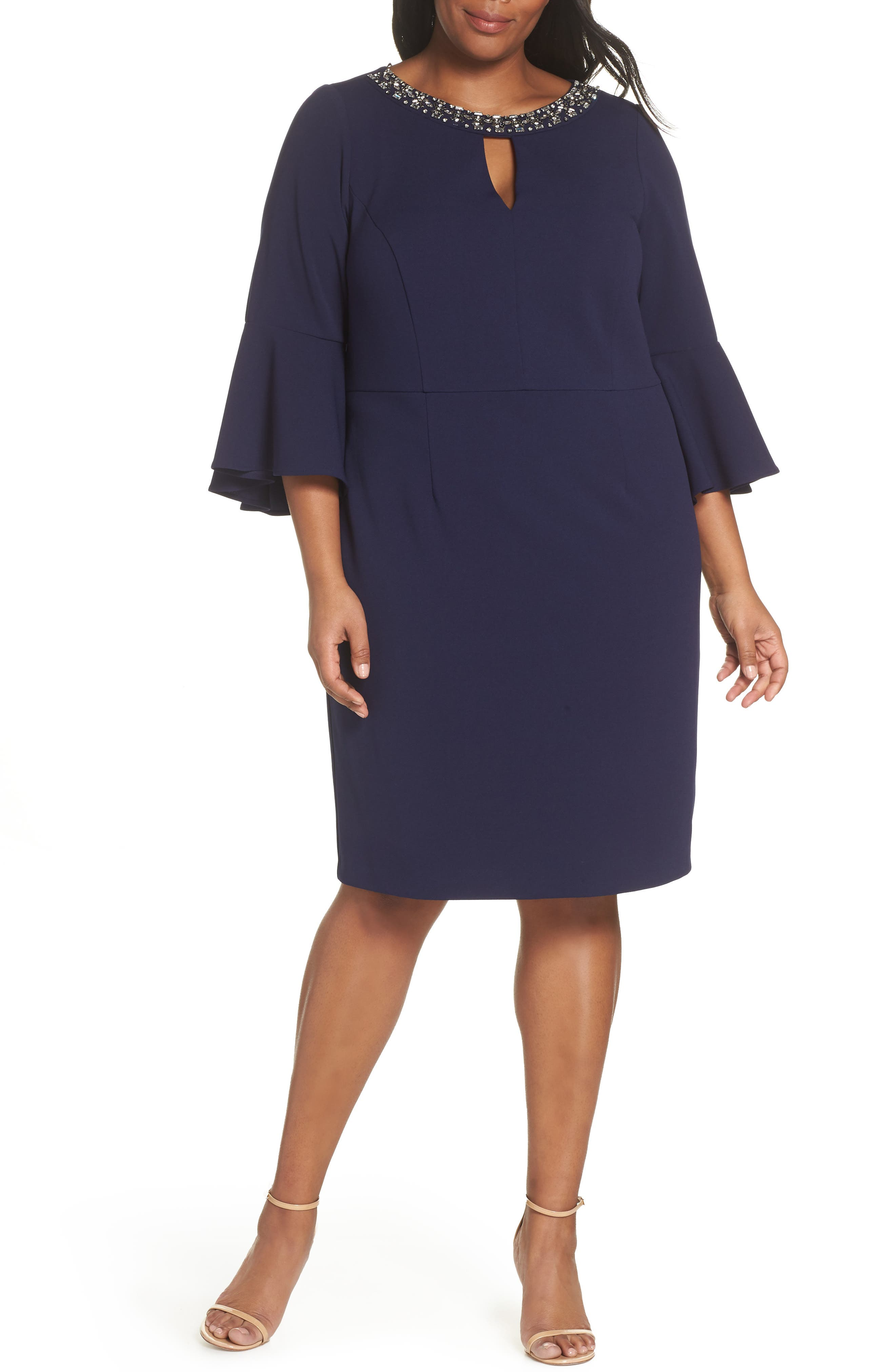 VINCE CAMUTO Embellished Neck Sheath Dress, Main, color, NAVY