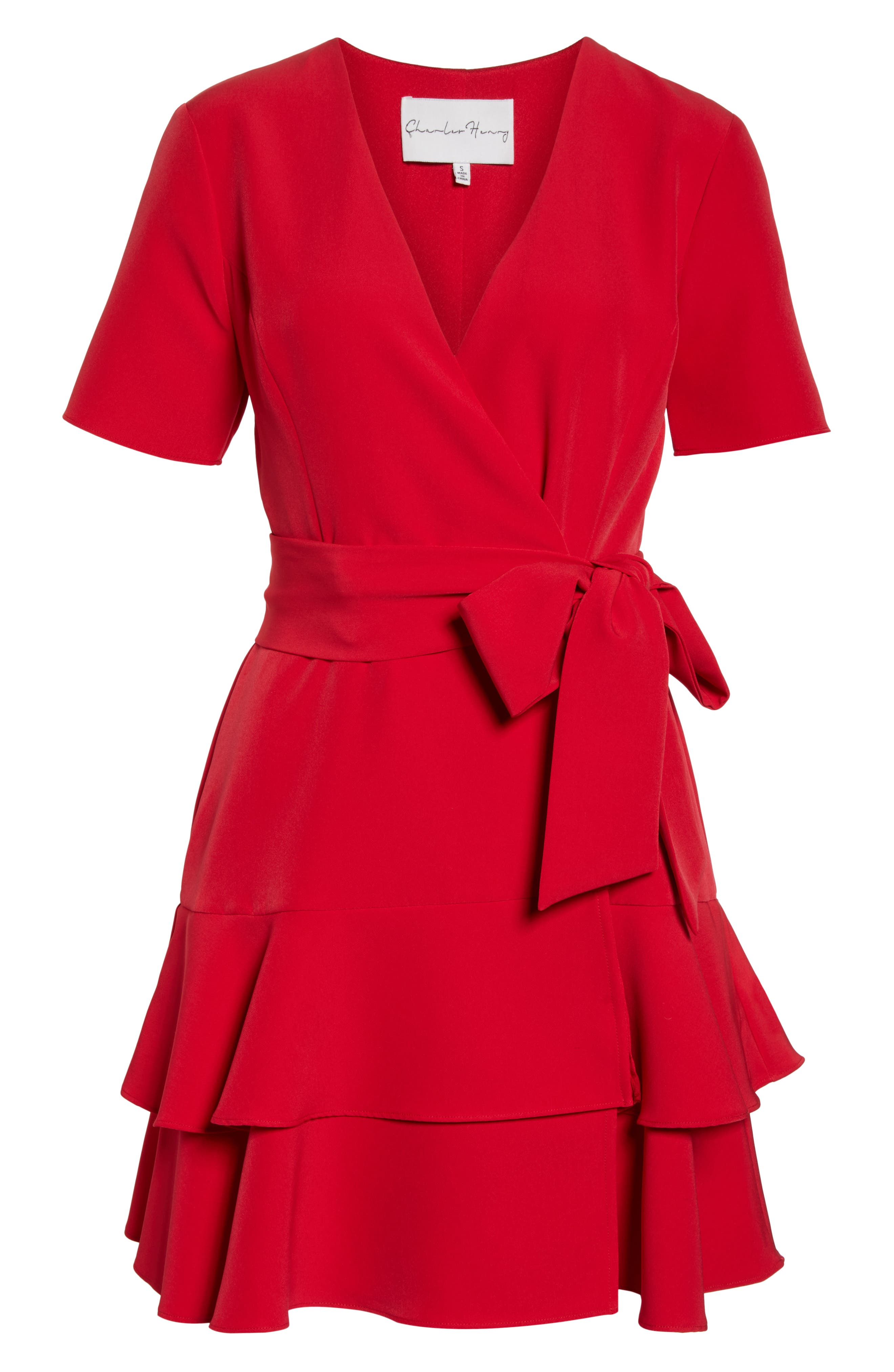 CHARLES HENRY, Ruffle Tiered Wrap Dress, Alternate thumbnail 7, color, SCARLET