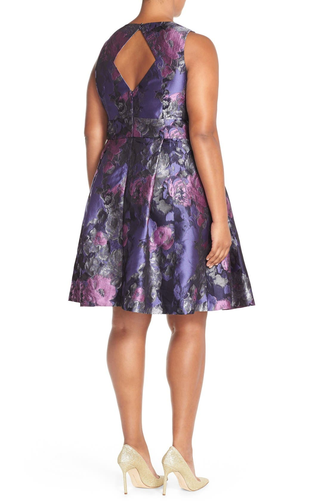 ELIZA J, Embellished Neck Metallic Jacquard Fit & Flare Dress, Alternate thumbnail 2, color, 523