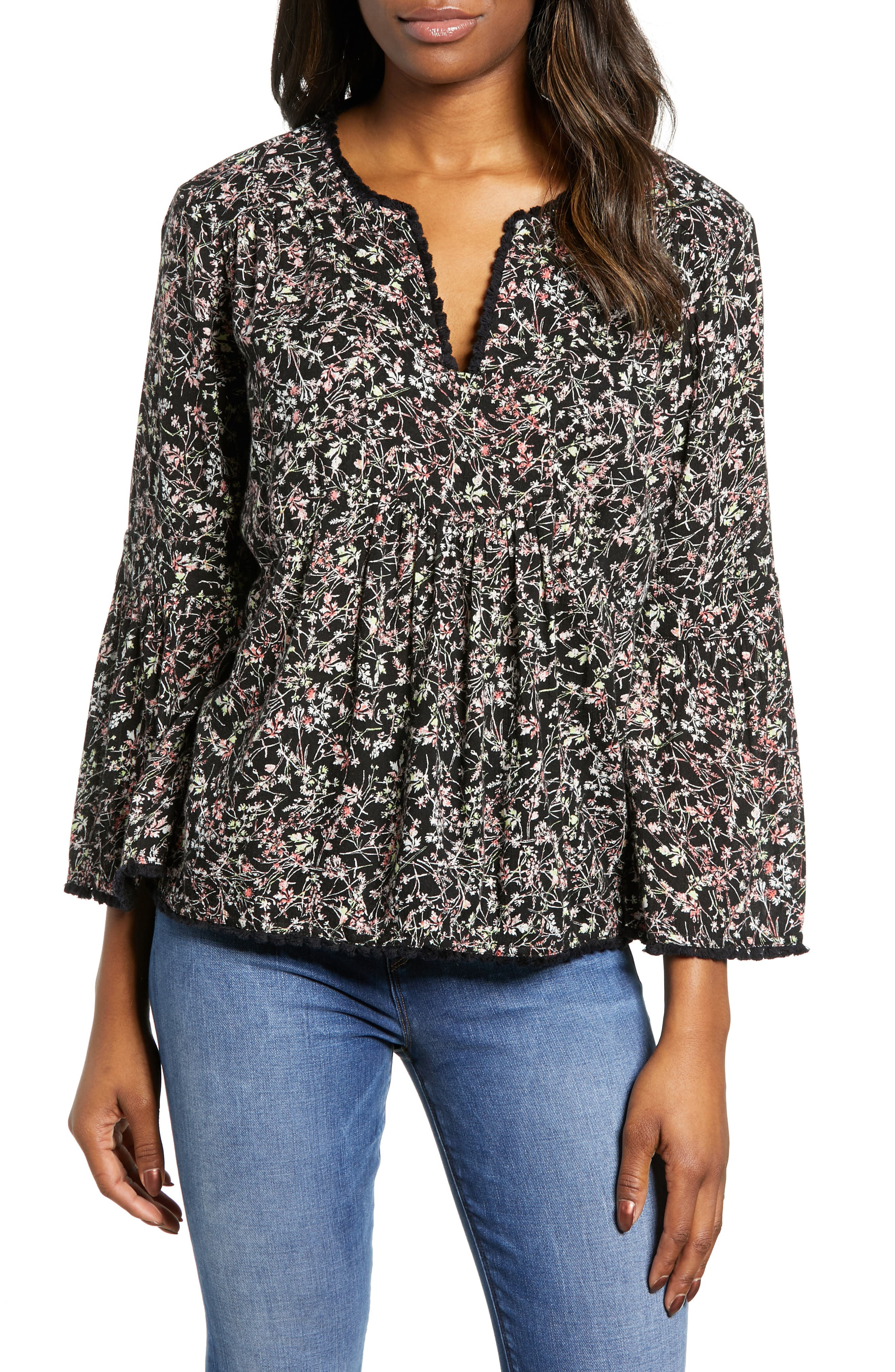 CASLON<SUP>®</SUP>, Print Fringe Trim Top, Main thumbnail 1, color, BLACK- GREEN NATURE FLORAL