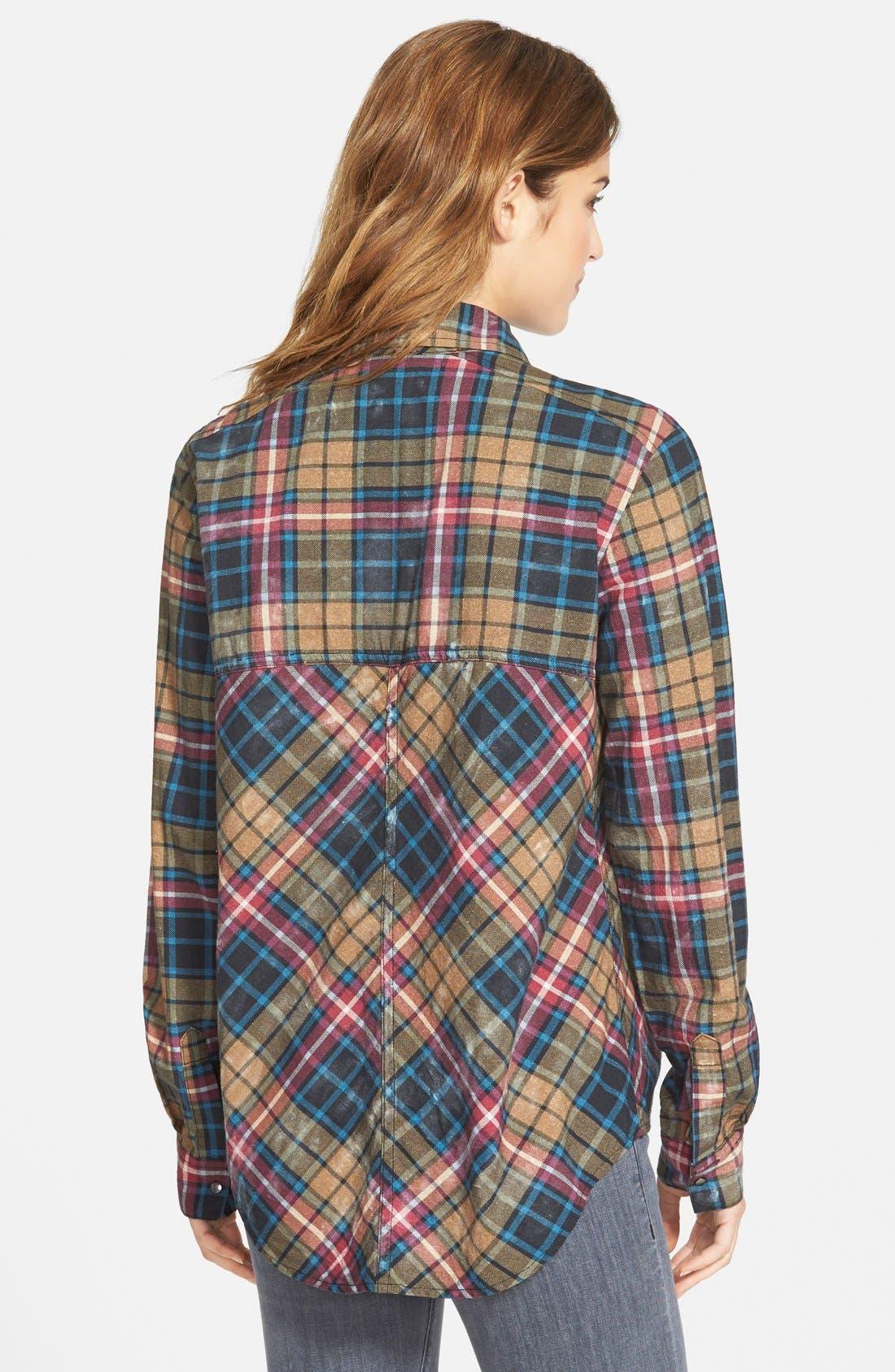 FREE PEOPLE, Stitch Detail Plaid Shirt, Alternate thumbnail 3, color, 300