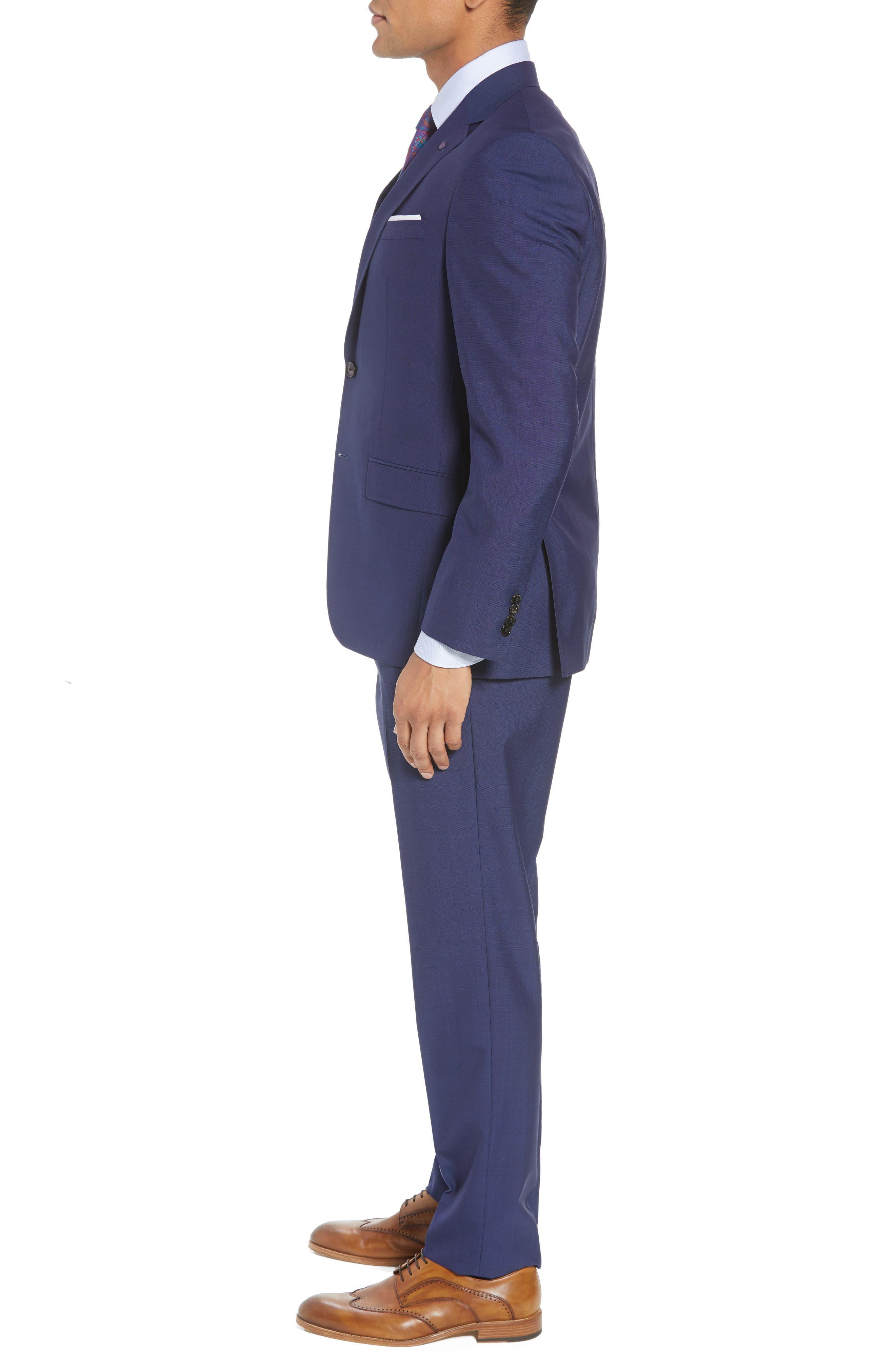 TED BAKER LONDON, Jay Trim Fit Suit, Alternate thumbnail 3, color, BLUE