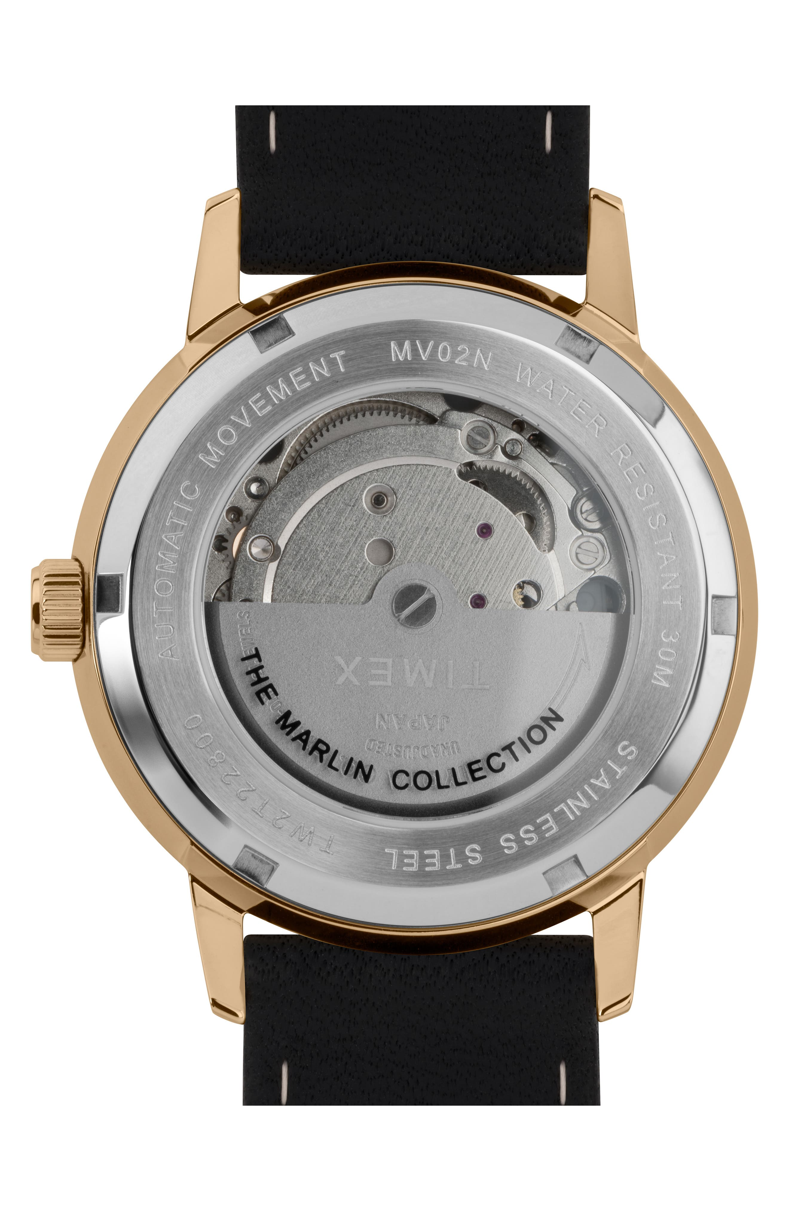 TIMEX<SUP>®</SUP>, Marlin Automatic Leather Strap Watch, 40mm, Alternate thumbnail 2, color, SILVER/ BLACK/ BLACK