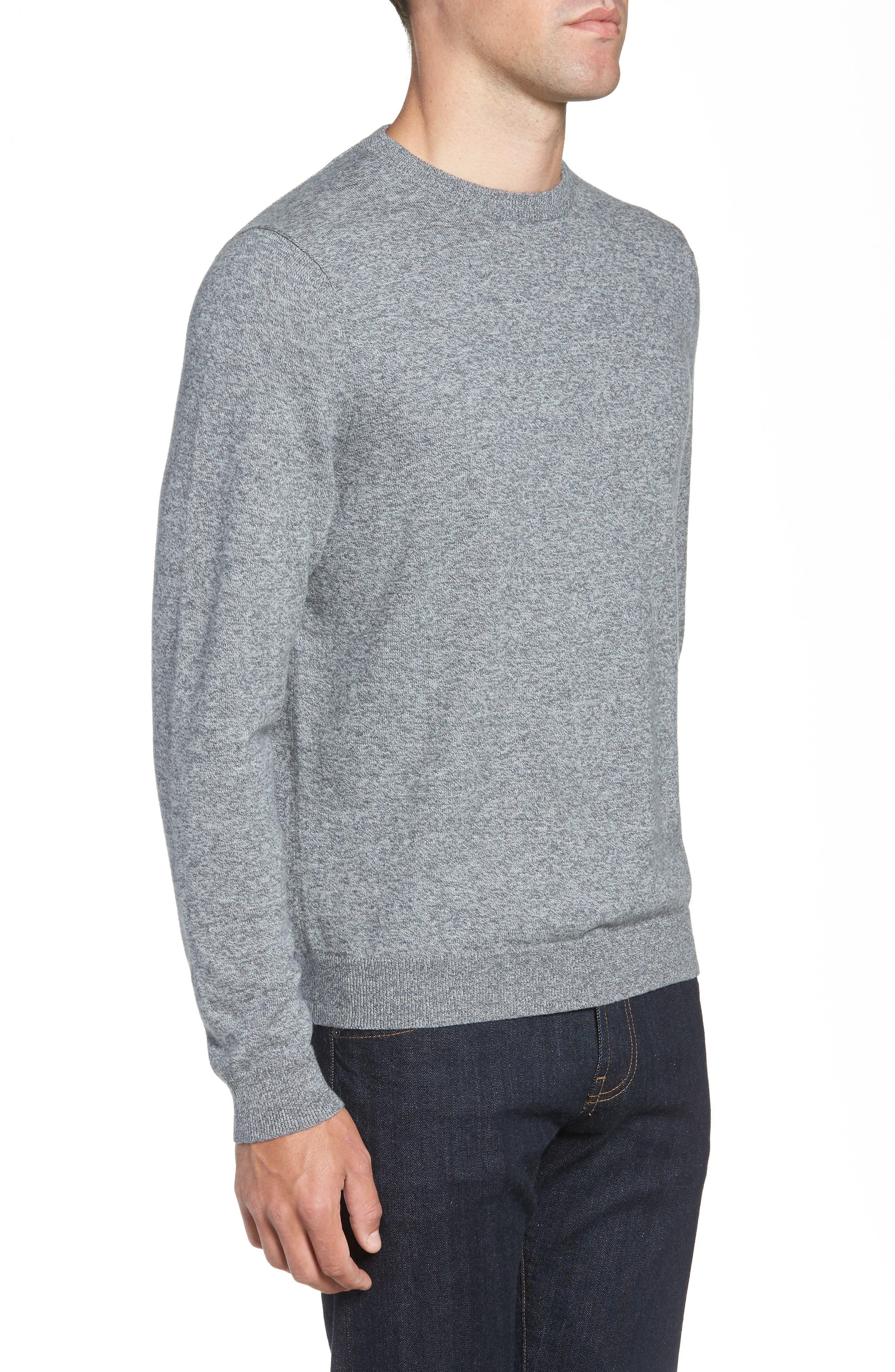 NORDSTROM MEN'S SHOP, Cotton & Cashmere Crewneck Sweater, Alternate thumbnail 3, color, GREY SHADE MARL