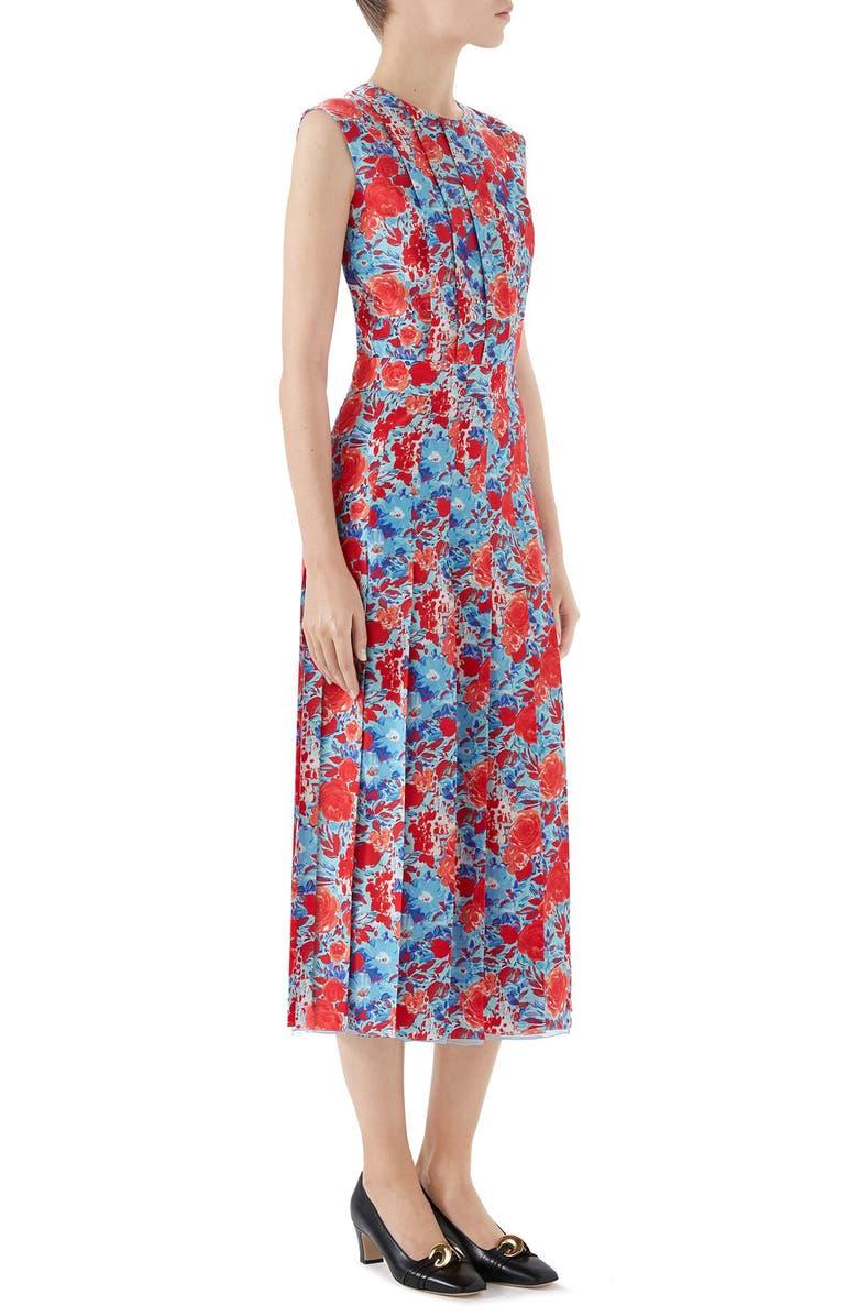 848b09b1d Gucci Floral Print Pleated Silk Midi Dress In Carolina/ Flame Print ...