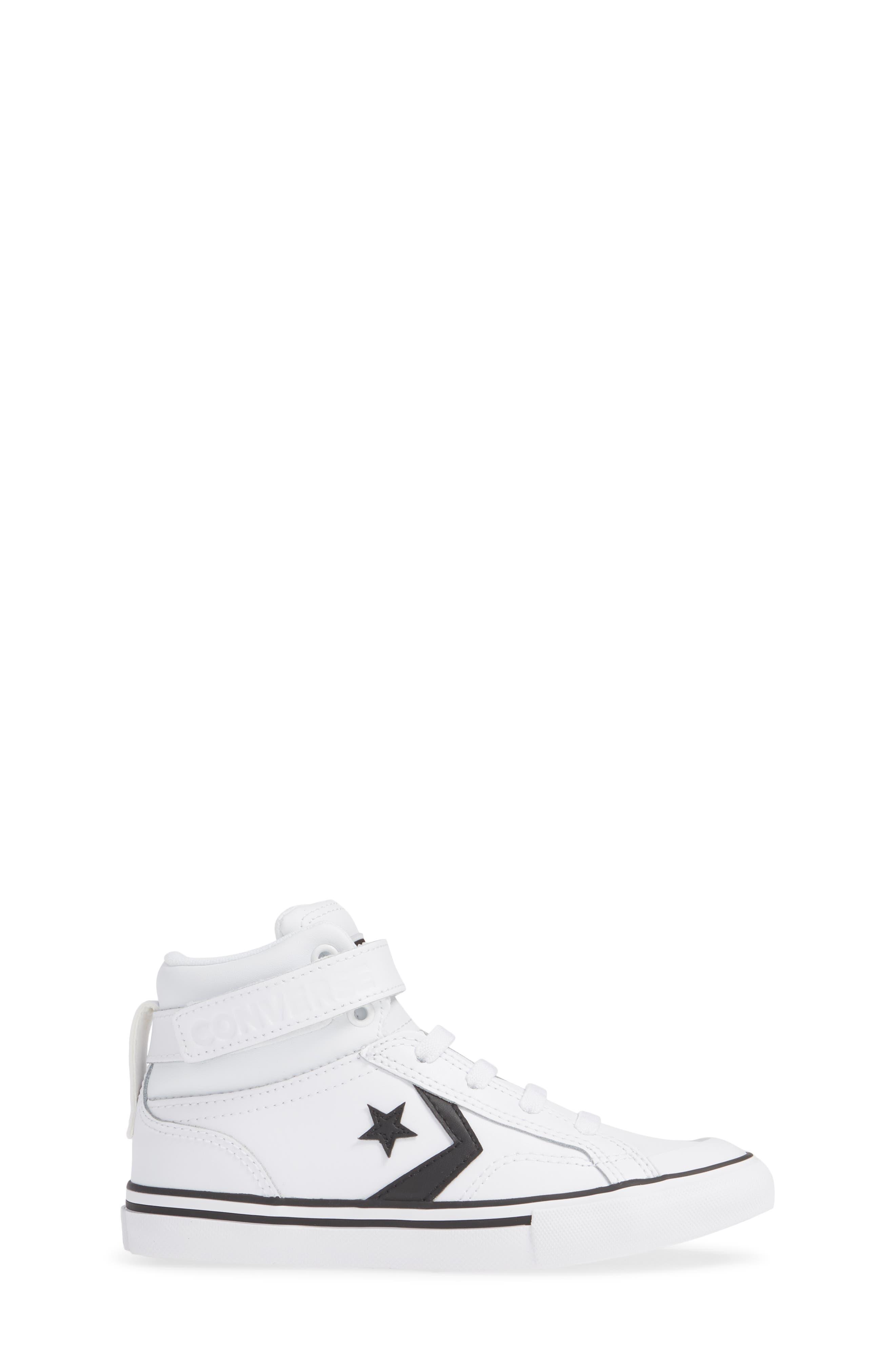 CONVERSE, Pro Blaze High Top Sneaker, Alternate thumbnail 3, color, WHITE/ BLACK/ WHITE