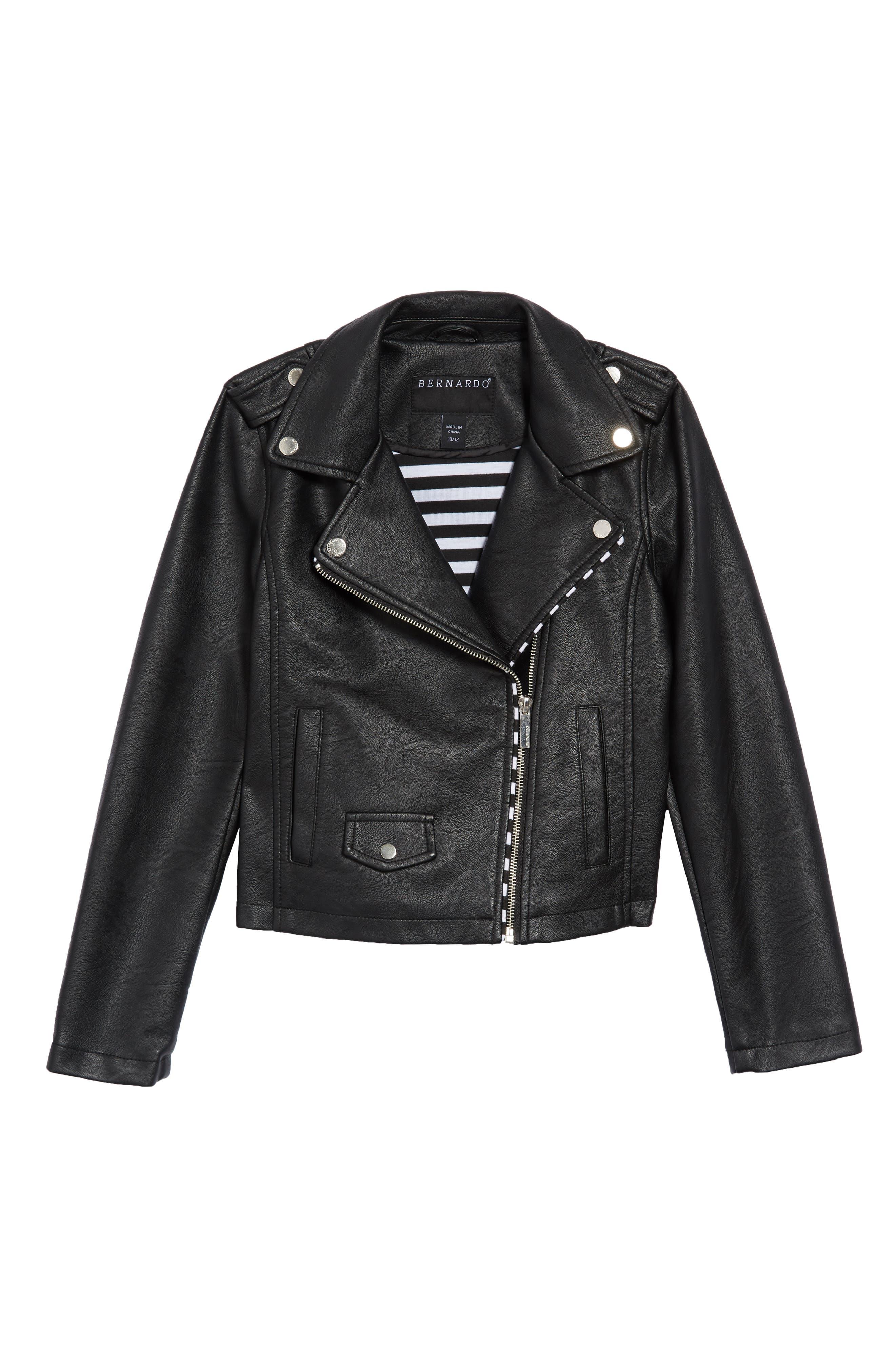 BERNARDO, Faux Leather Moto Jacket, Main thumbnail 1, color, 001