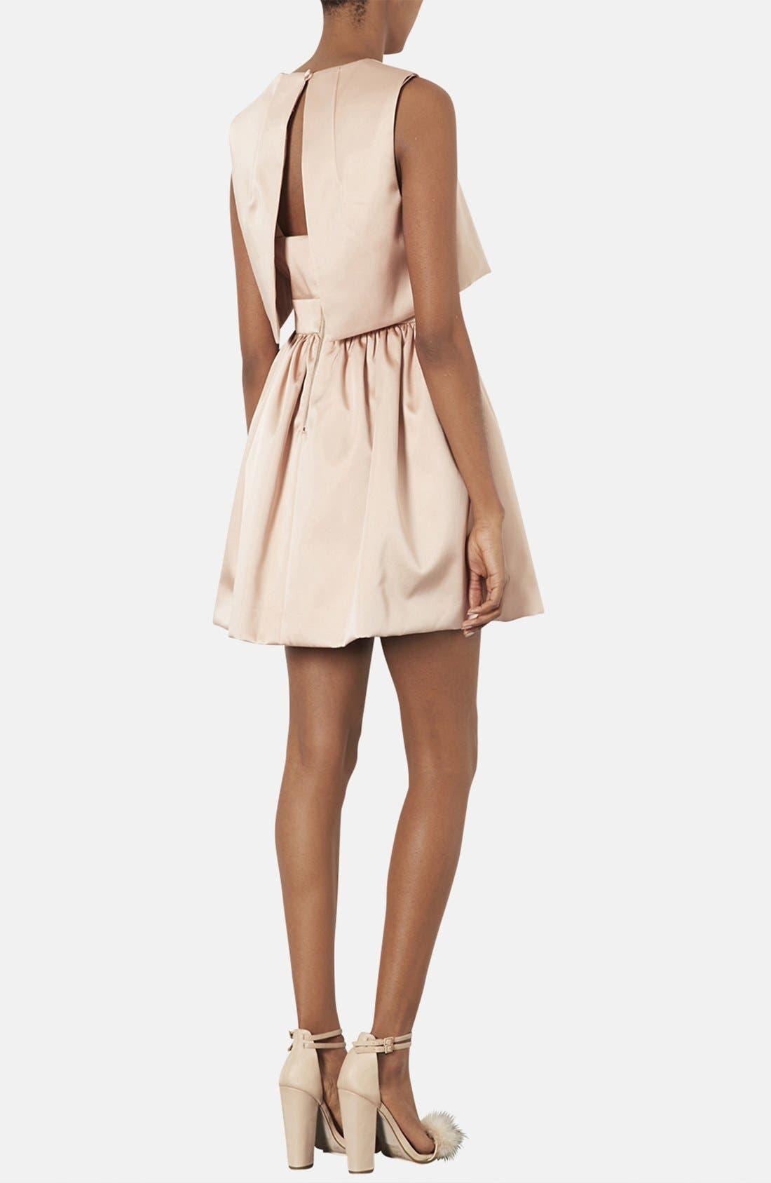 TOPSHOP, 'Duchess' Crop Overlay Satin Skater Dress, Alternate thumbnail 3, color, 250