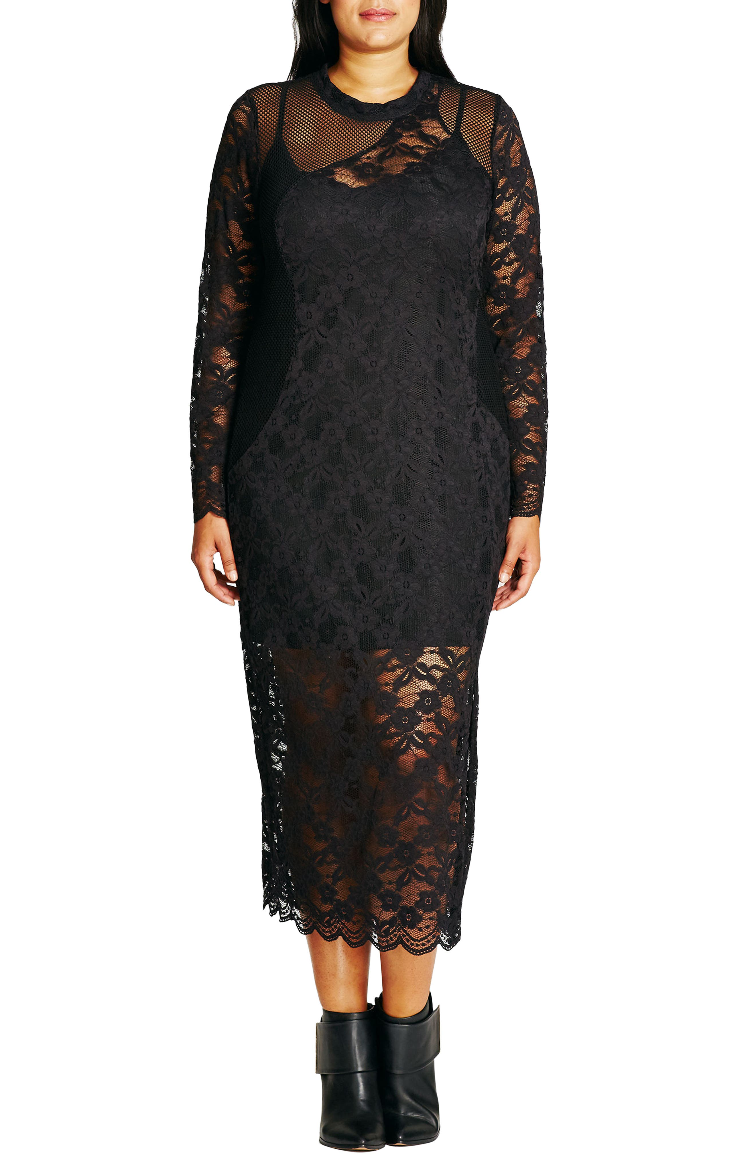 CITY CHIC, Lady Luxe Maxi Dress, Main thumbnail 1, color, 001