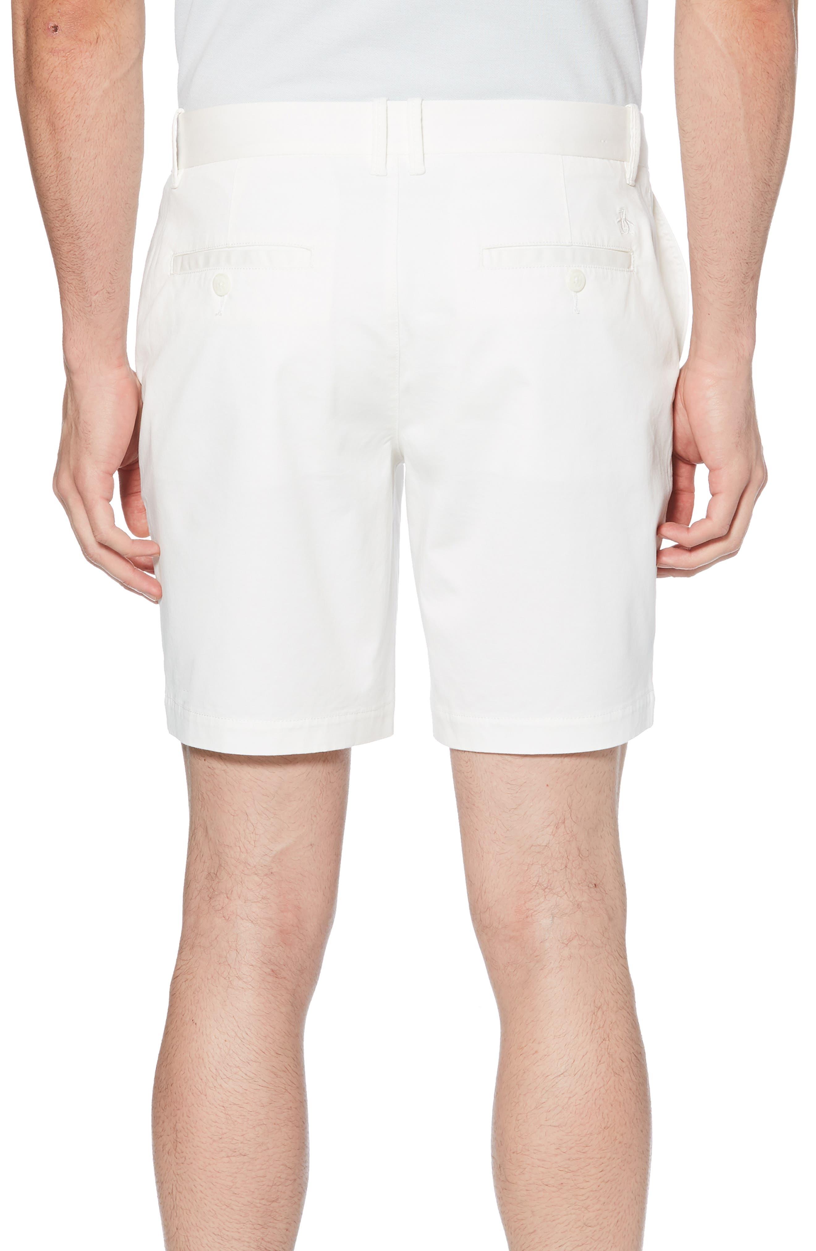 ORIGINAL PENGUIN, Stretch Cotton Twill Shorts, Alternate thumbnail 2, color, BRIGHT WHITE