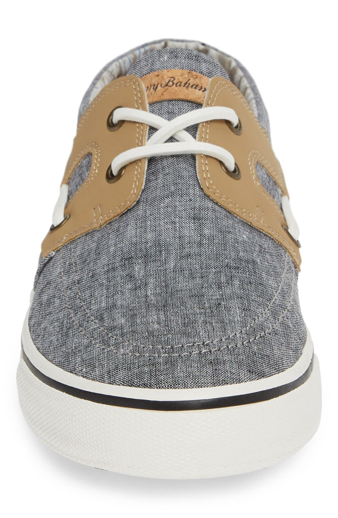 TOMMY BAHAMA, Stripe Breaker Sneaker, Alternate thumbnail 4, color, BLACK CHAMBRAY