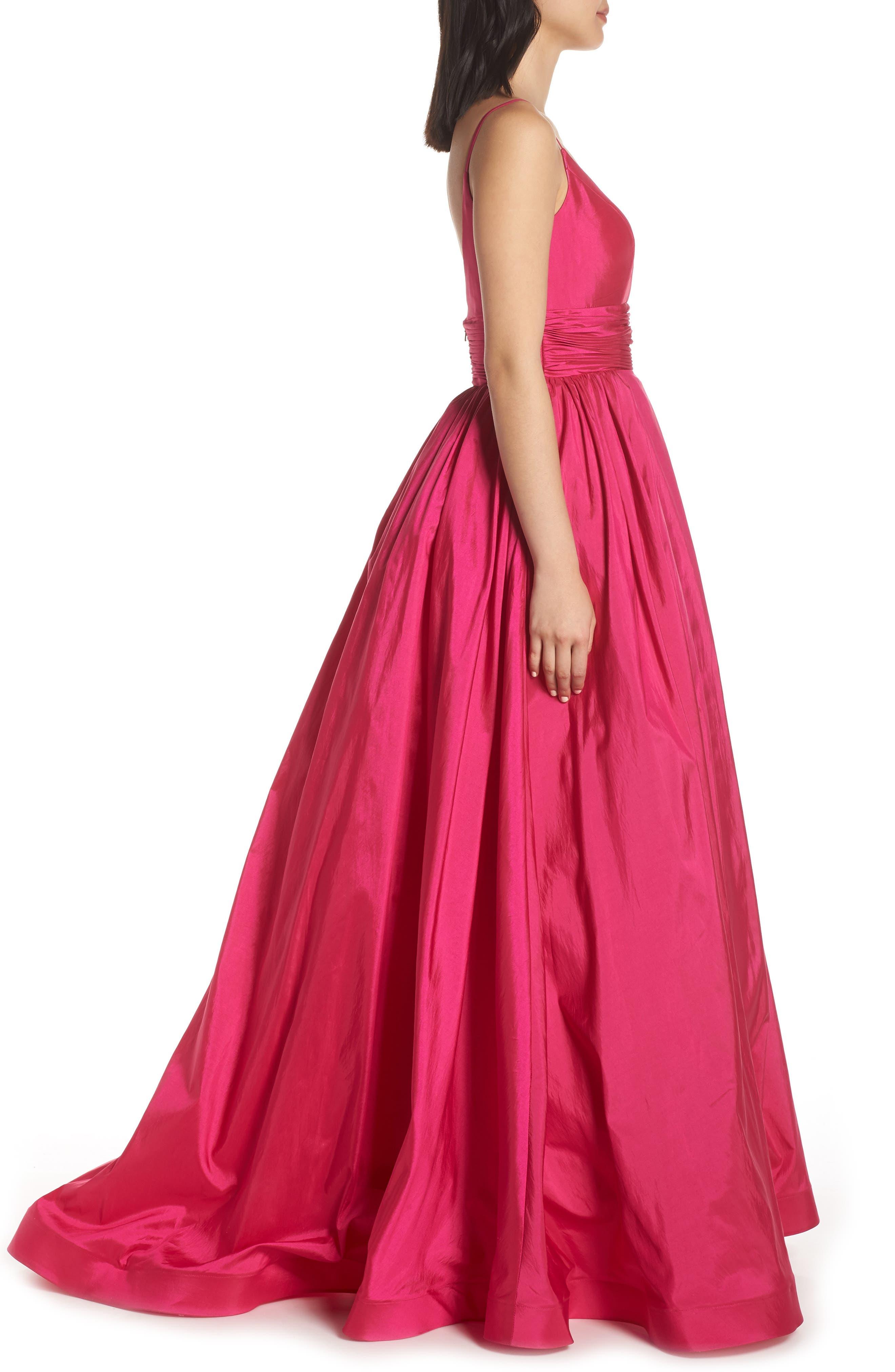 MAC DUGGAL, V-Neck Satin Evening Dress, Alternate thumbnail 4, color, MAGENTA