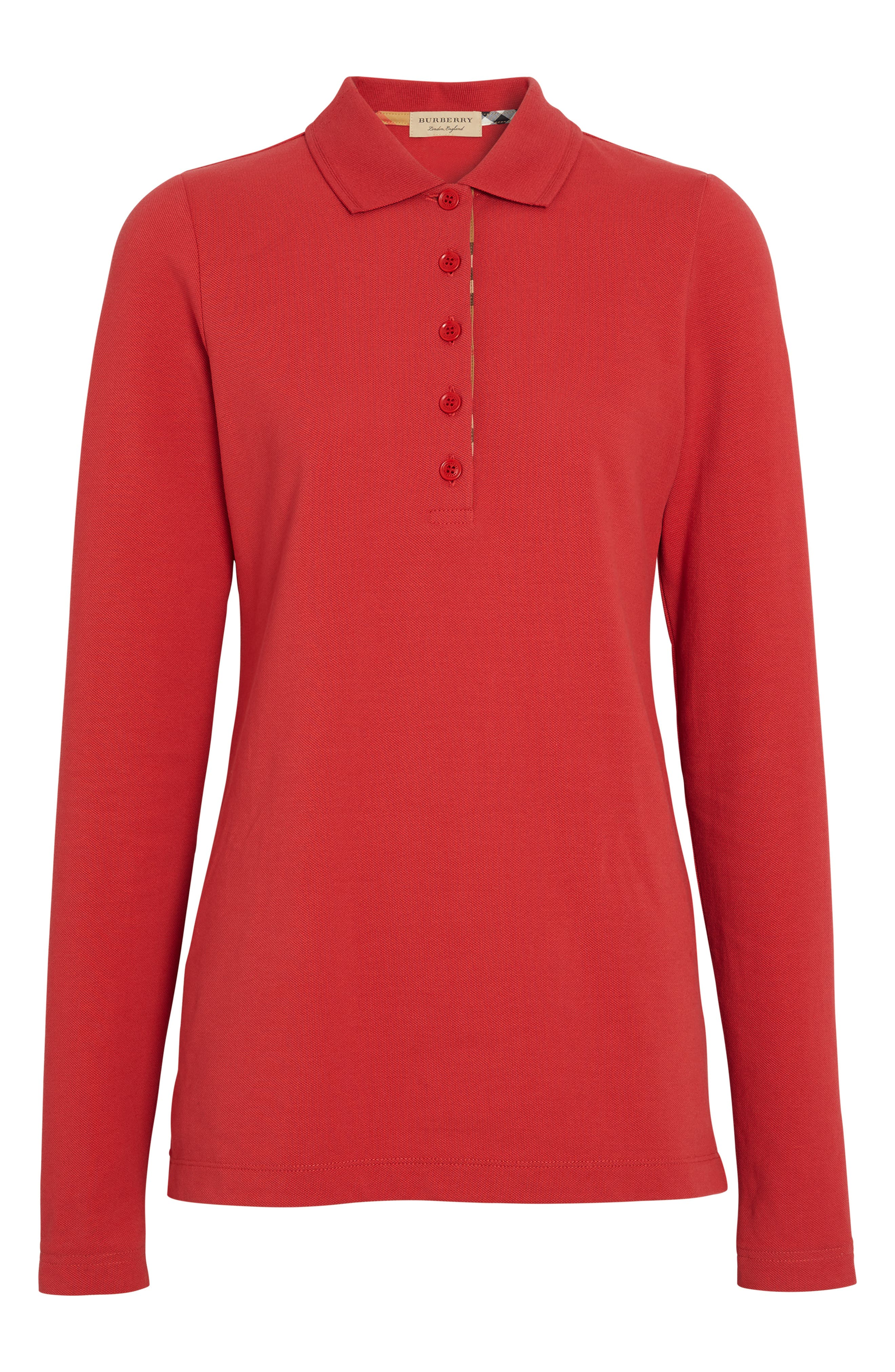 BURBERRY, Zulia Polo Shirt, Alternate thumbnail 4, color, BRIGHT RED