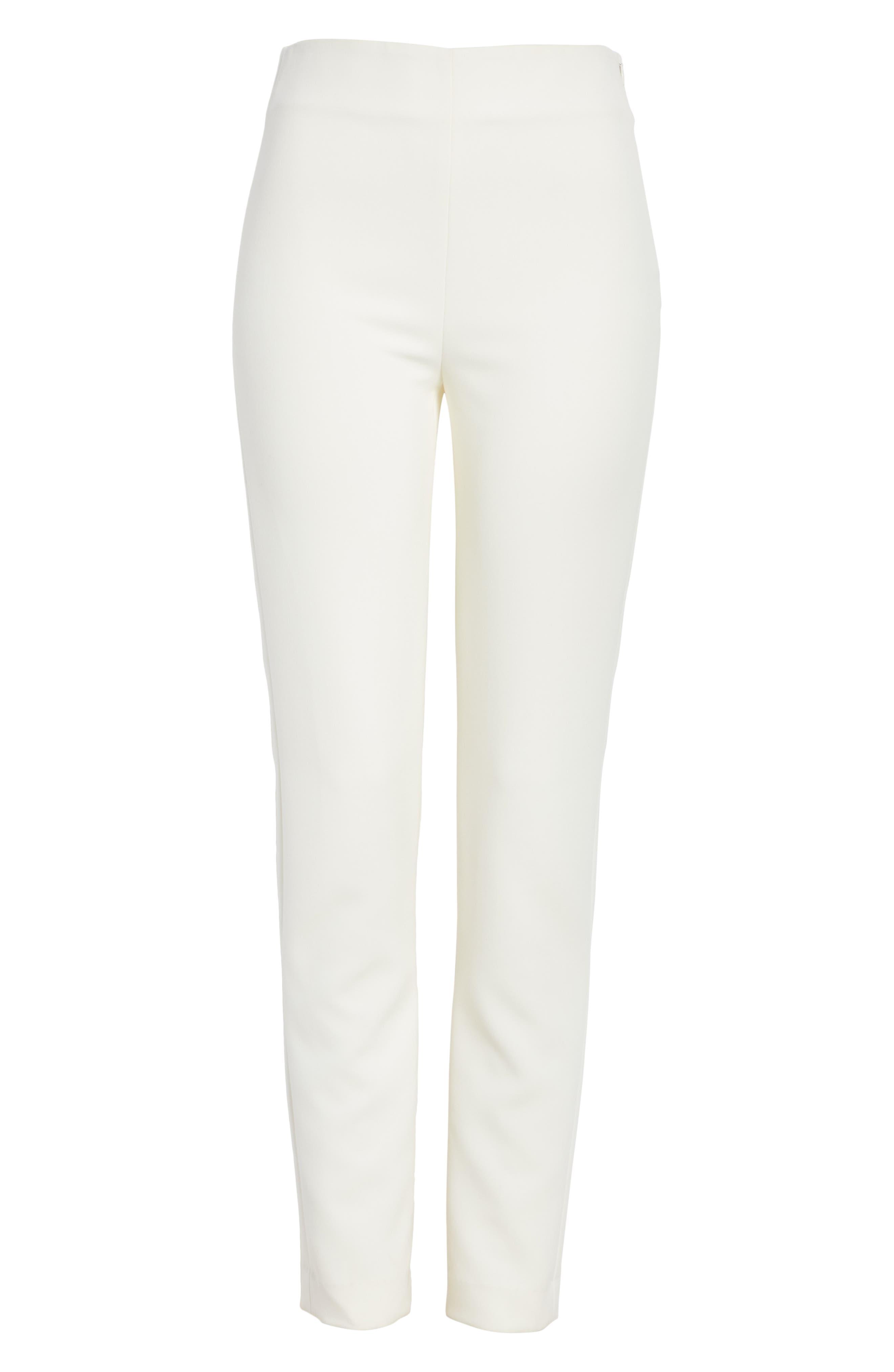 ST. JOHN COLLECTION, Bella Double Weave Skinny Pants, Alternate thumbnail 6, color, CREAM