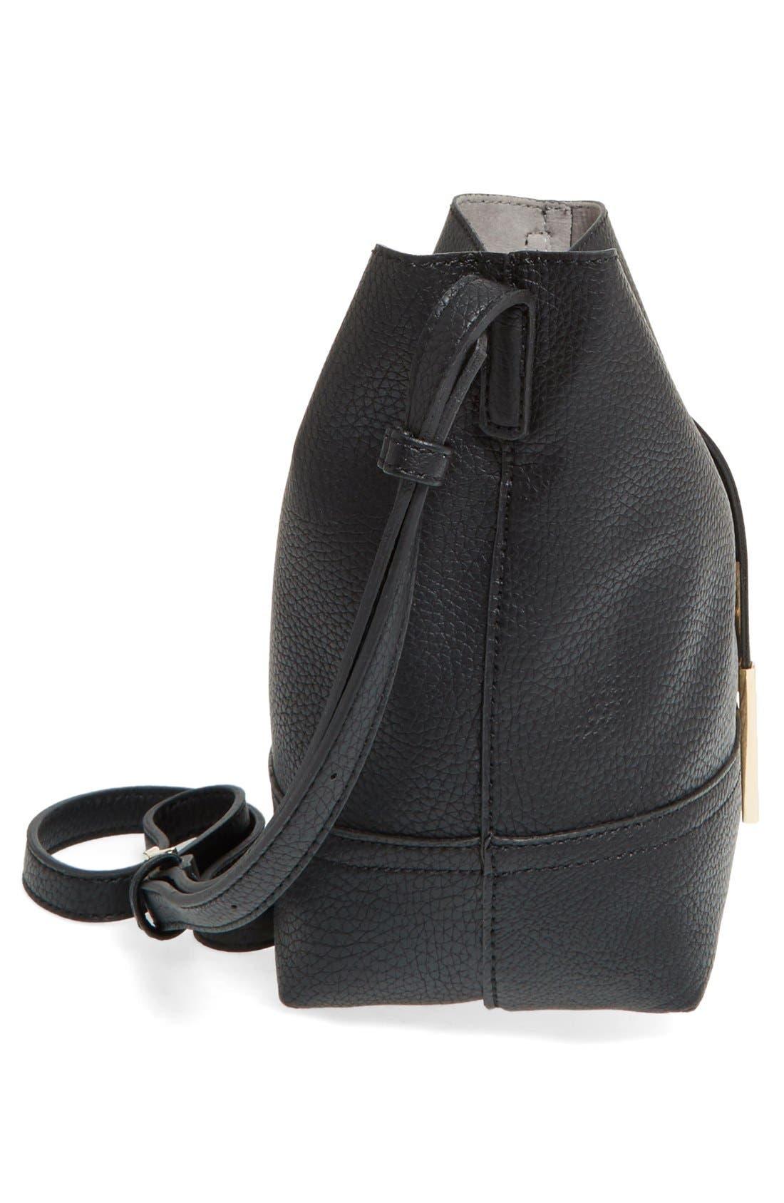 STREET LEVEL, Faux Leather Bucket Bag, Alternate thumbnail 6, color, 001