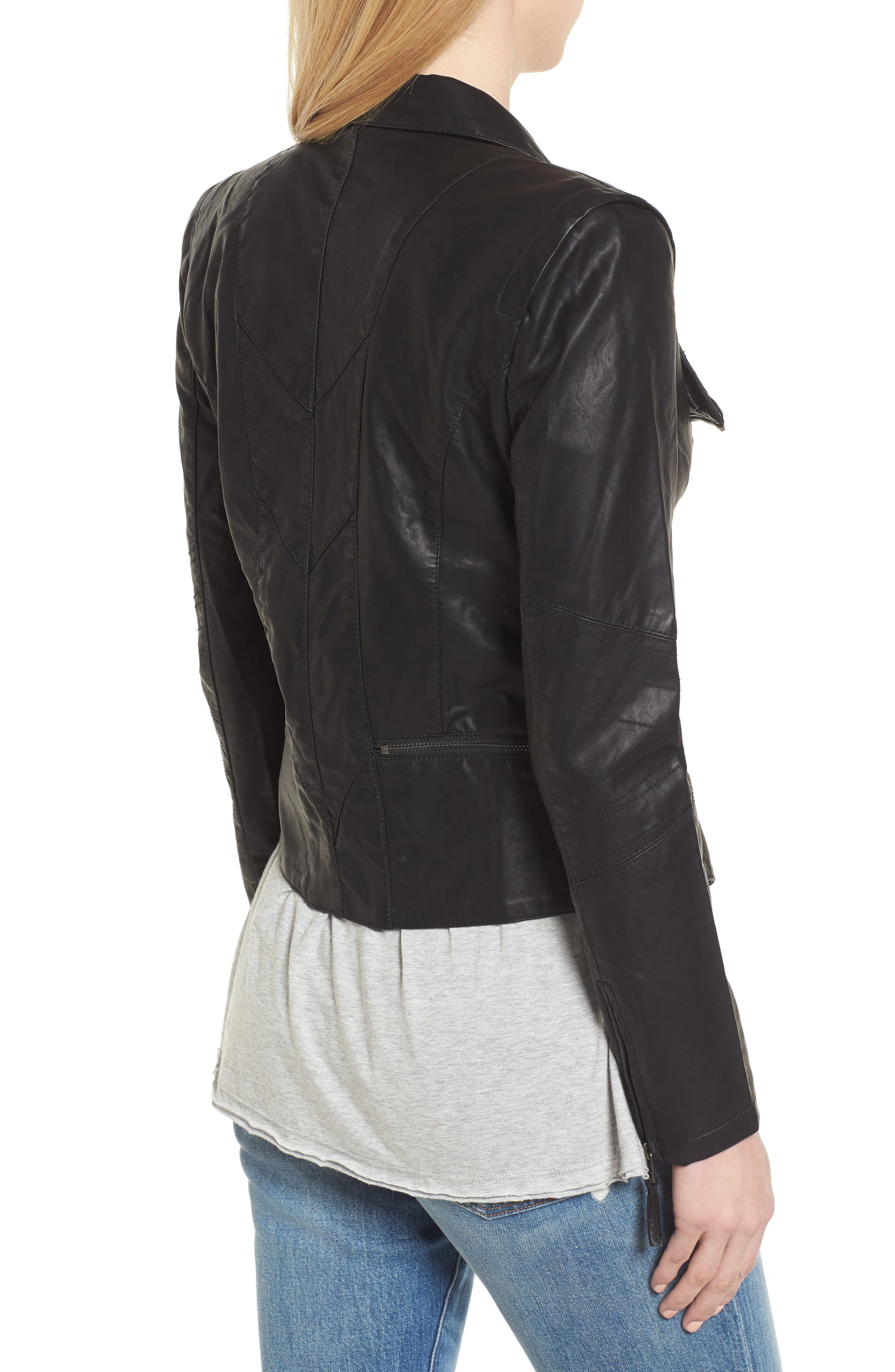 BLANKNYC, Faux Leather Jacket, Alternate thumbnail 2, color, BLACK