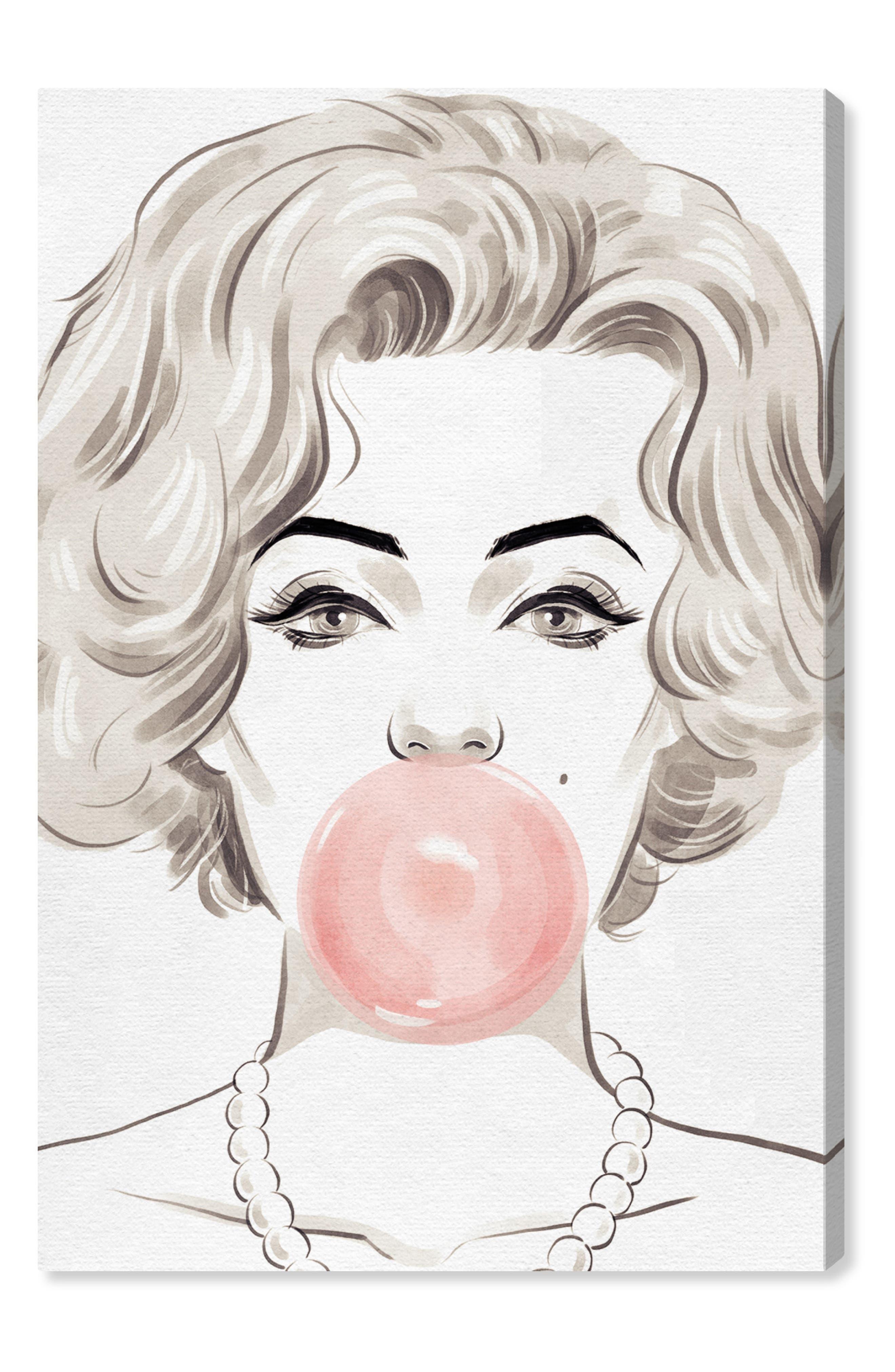 OLIVER GAL Bubblegum Beauty Canvas Wall Art, Main, color, PINK