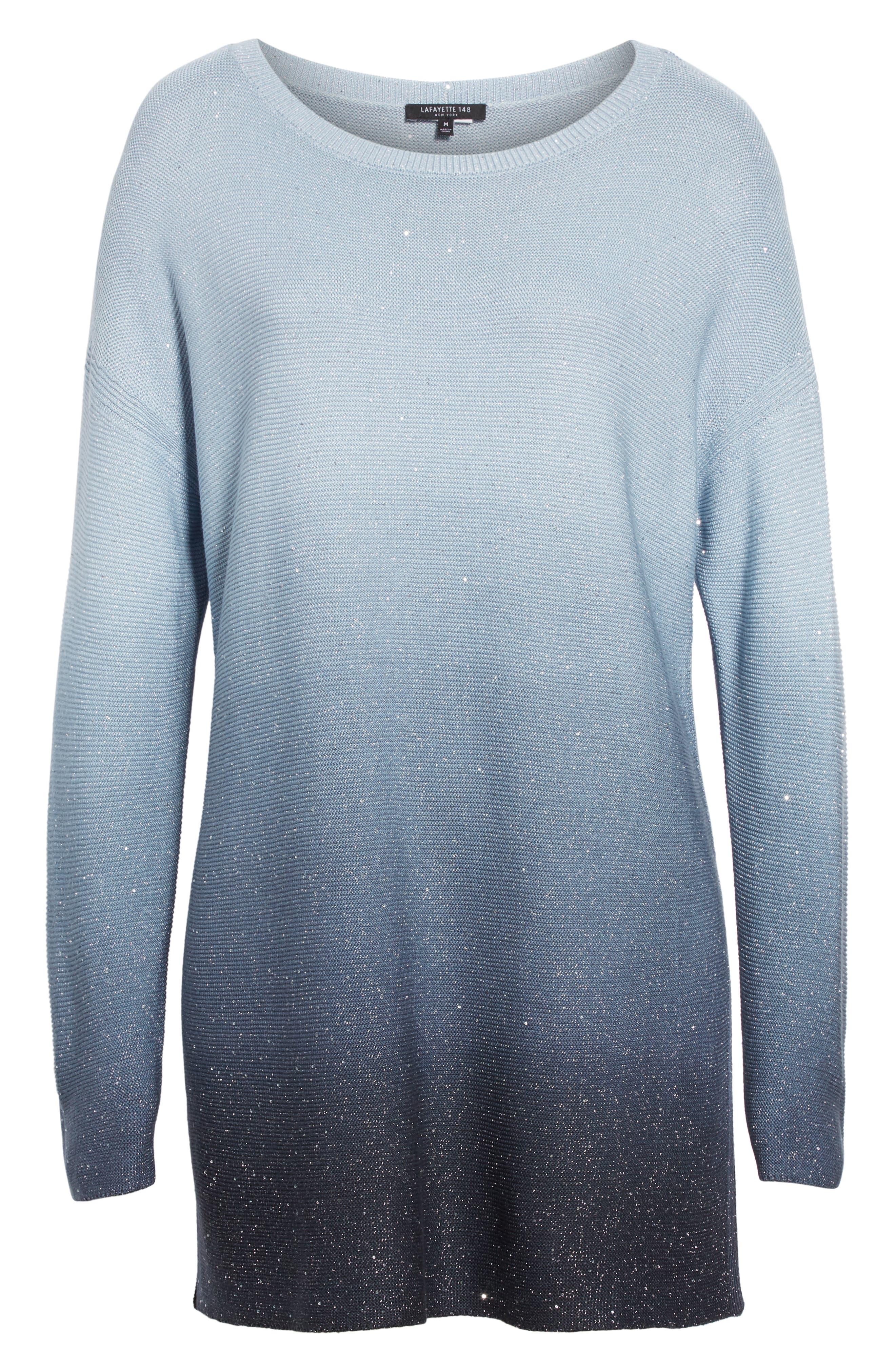 LAFAYETTE 148 NEW YORK, Sequin Ombré Silk Blend Tunic, Alternate thumbnail 6, color, SLATE BLUE MULTI