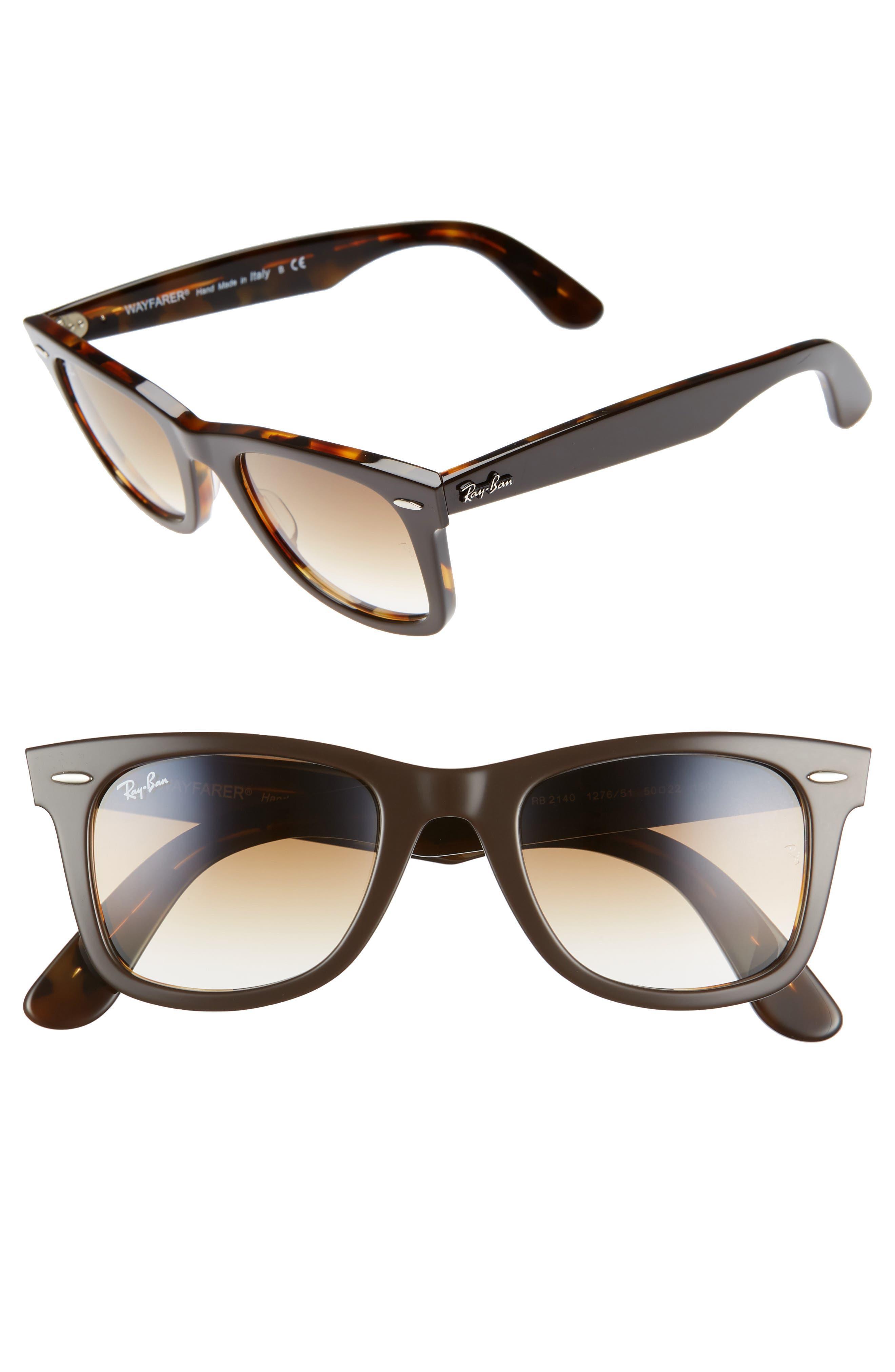 RAY-BAN 'Classic Wayfarer' 50mm Sunglasses, Main, color, BROWN/ YELLOW GRADIENT