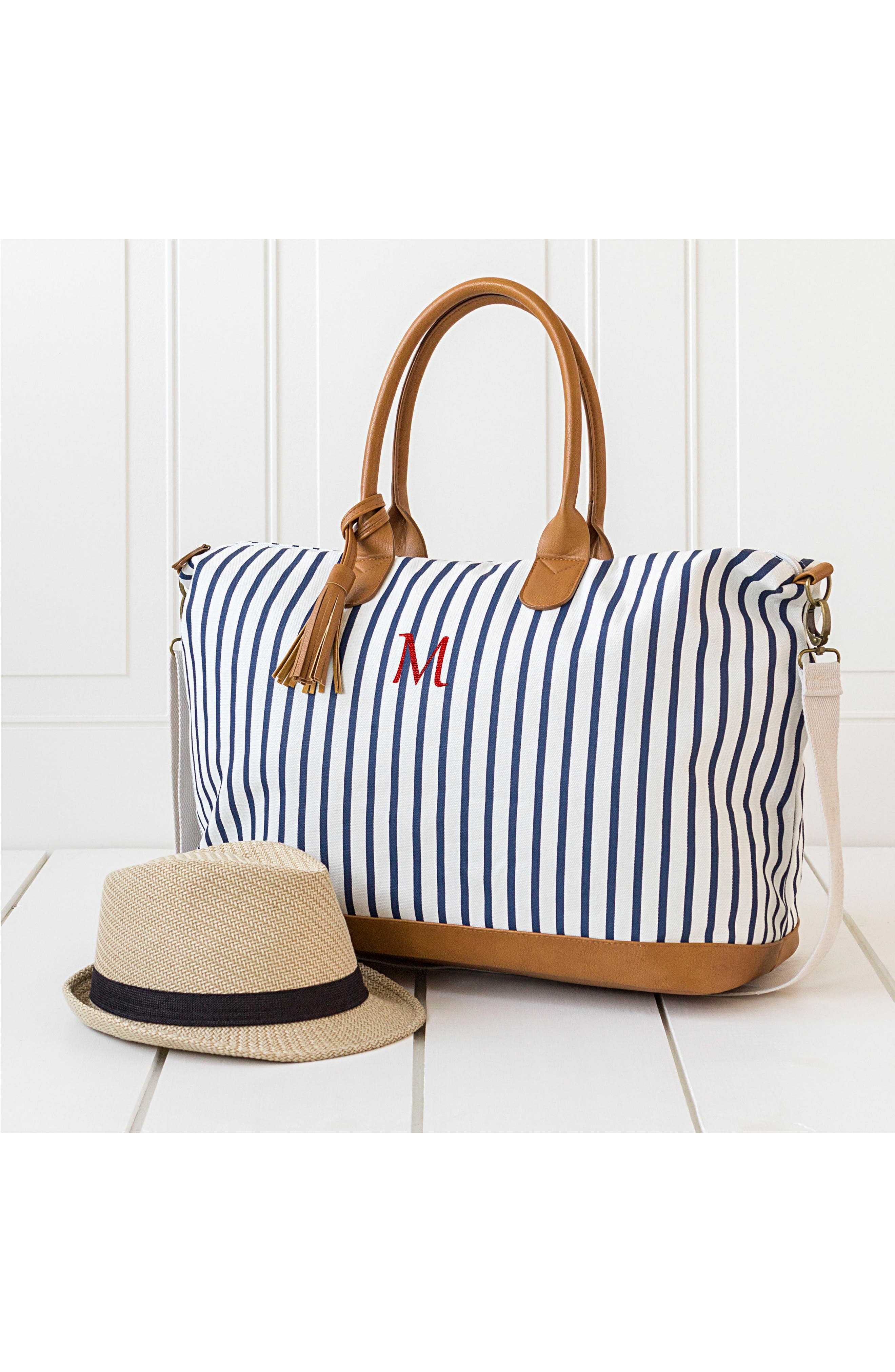 CATHY'S CONCEPTS, Monogram Oversized Tote, Alternate thumbnail 8, color, BLUE