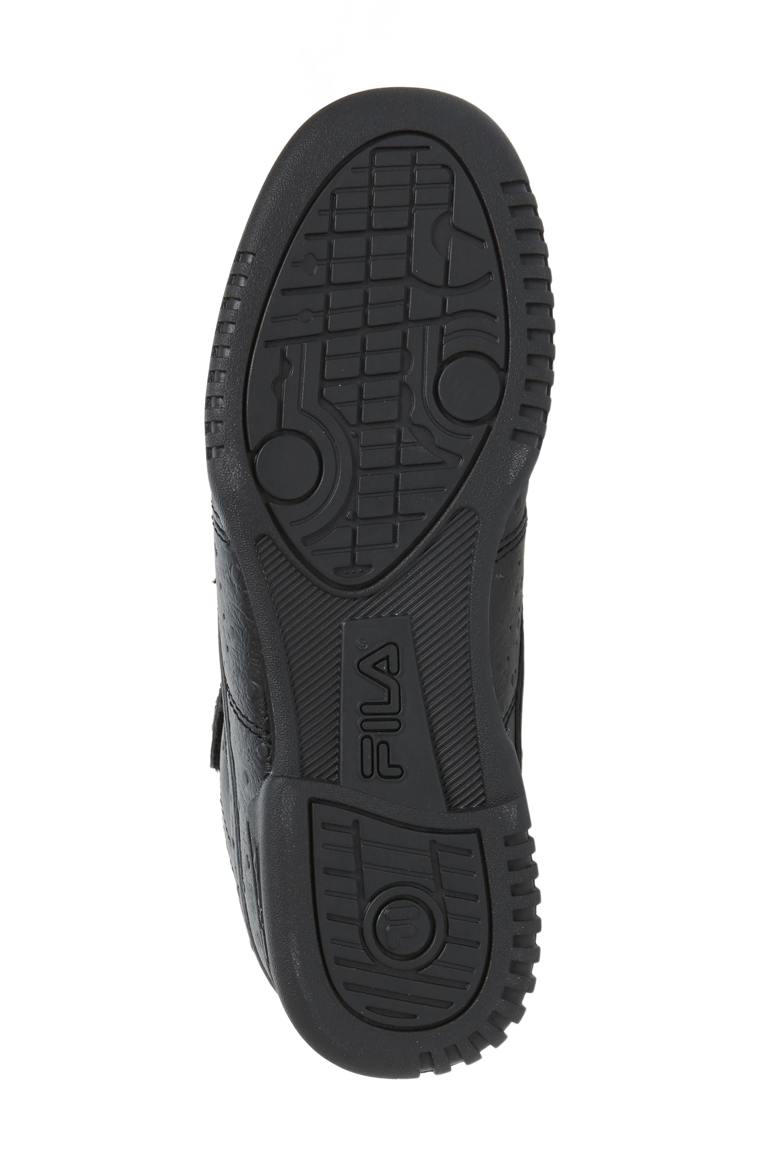 FILA, F-13 Ostrich Embossed High Top Sneaker, Alternate thumbnail 4, color, TRIPLE BLACK
