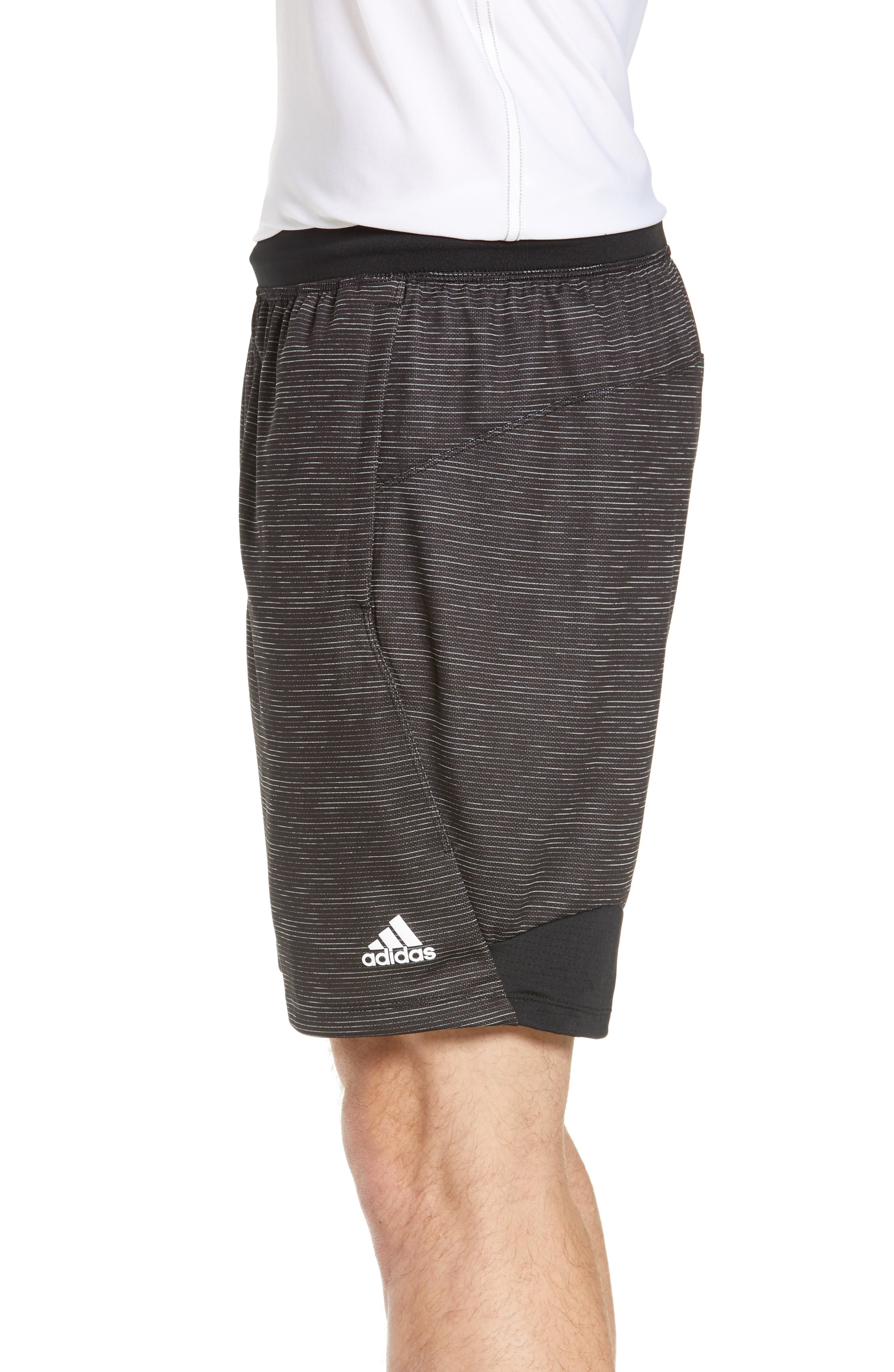 ADIDAS, Knit Shorts, Alternate thumbnail 4, color, BLACK