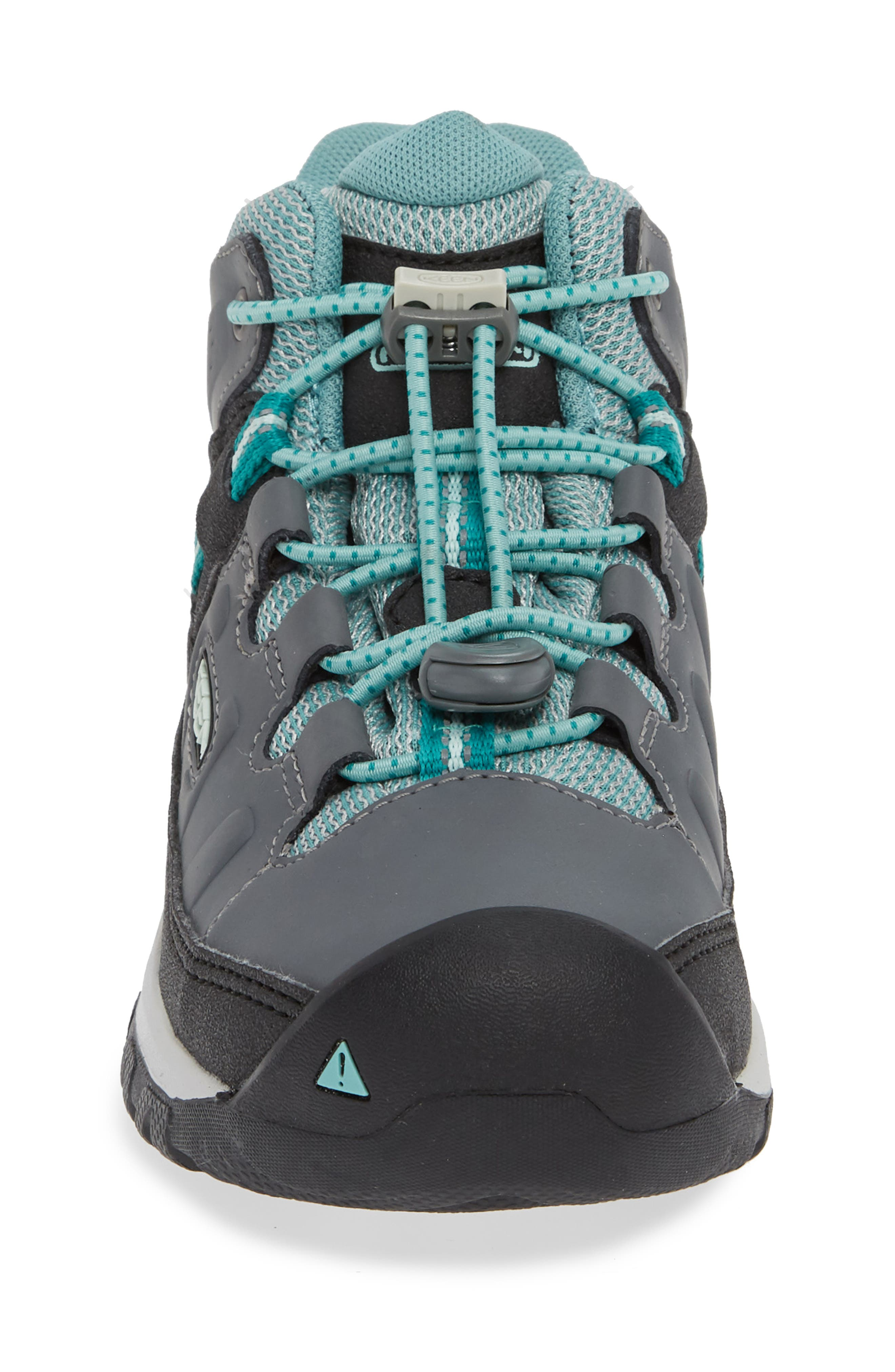 KEEN, Targhee Mid Waterproof Hiking Boot, Alternate thumbnail 4, color, GREY/ WASABI