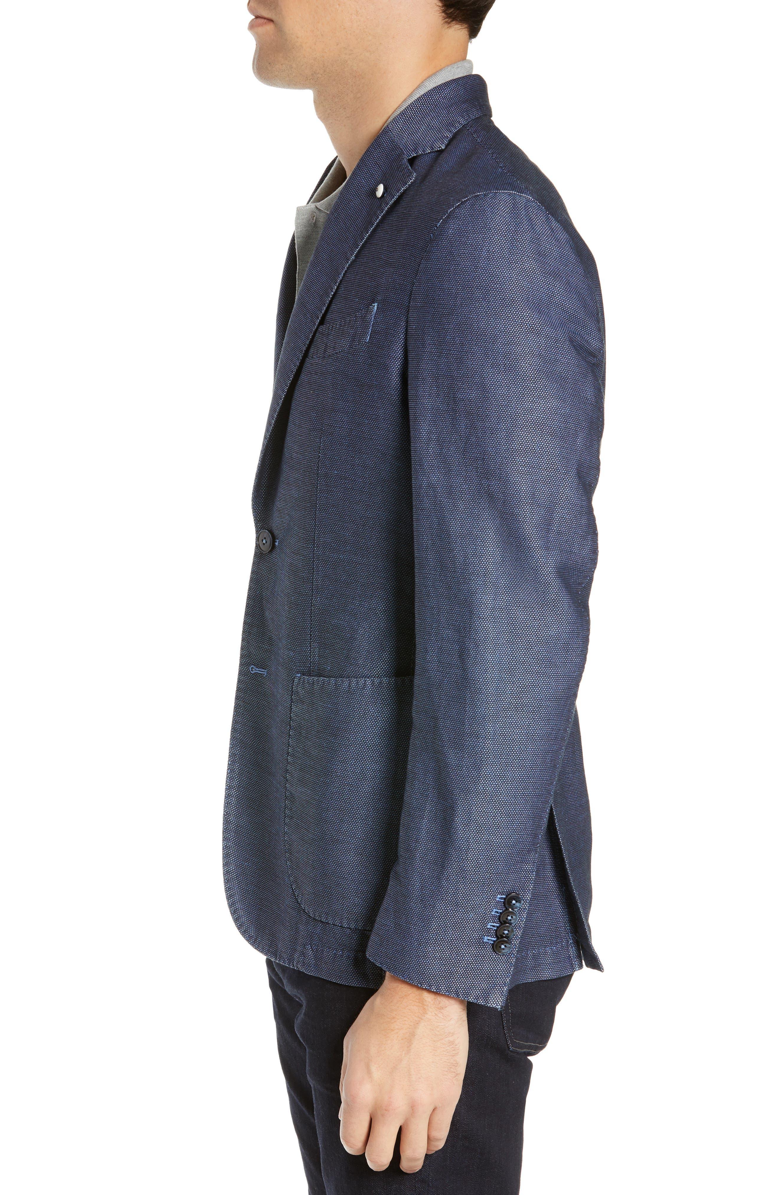 L.B.M. 1911, Slim Fit Solid Linen & Cotton Sport Coat, Alternate thumbnail 3, color, NAVY