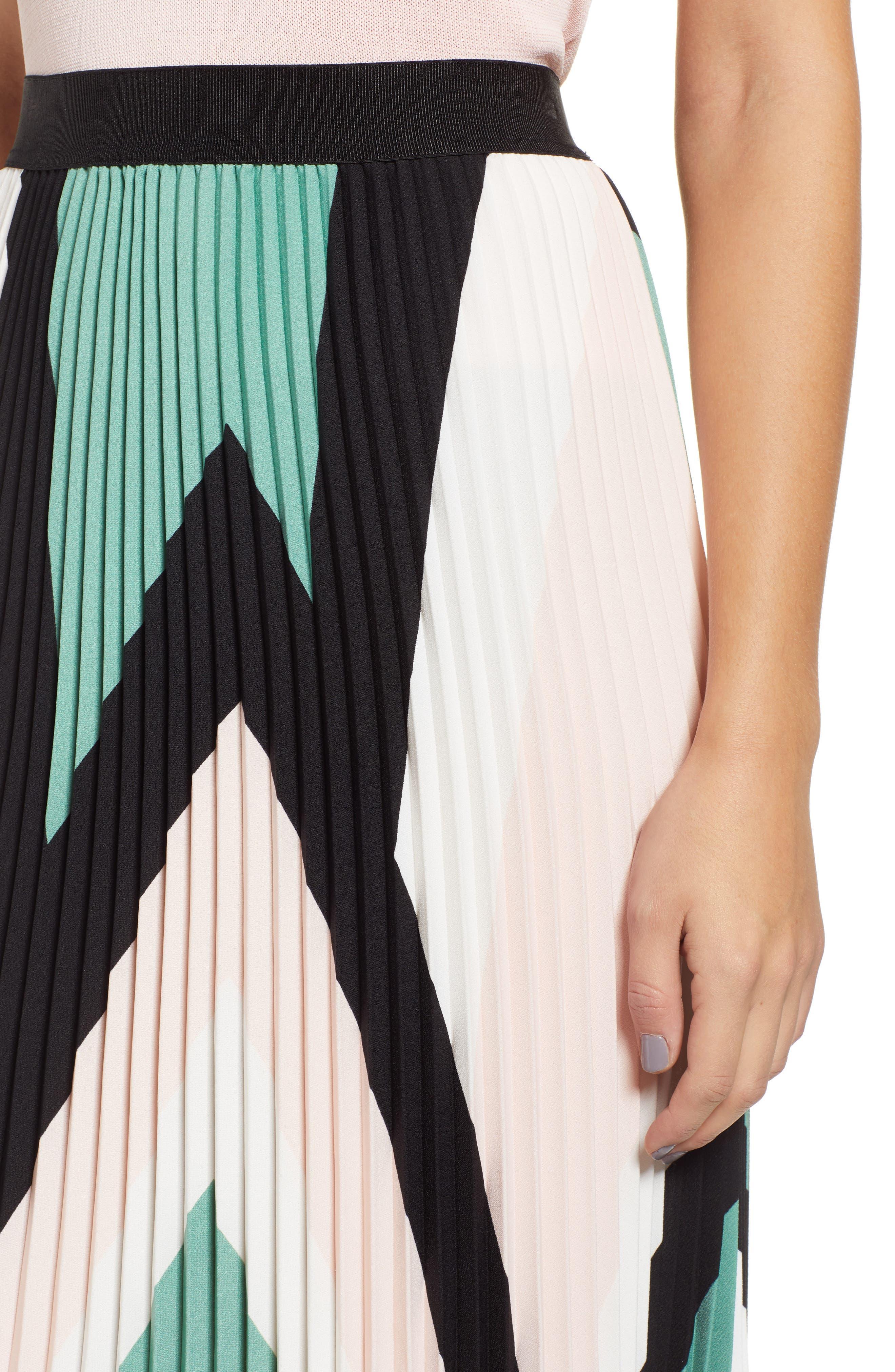 LEITH, Pleated Midi Skirt, Alternate thumbnail 5, color, PINK CHINTZ TRIANGLE STRIPE