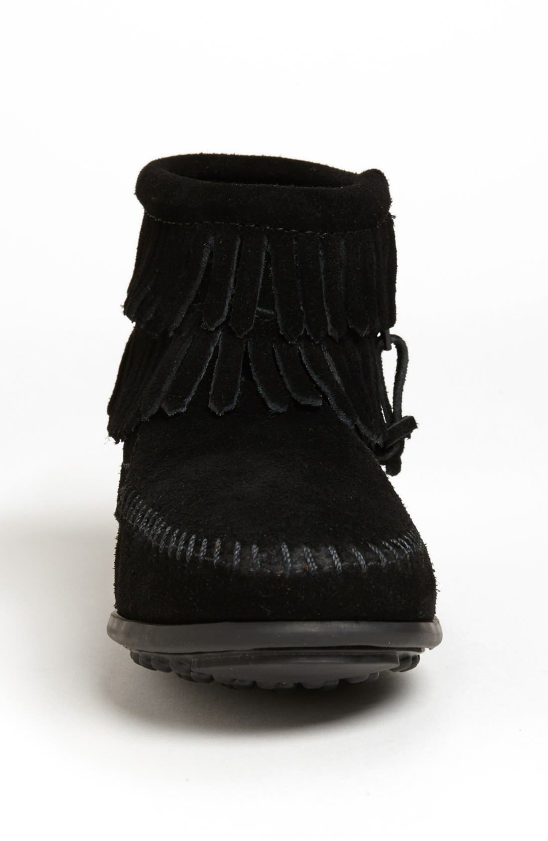 MINNETONKA, 'Double Fringe' Boot, Alternate thumbnail 3, color, BLACK