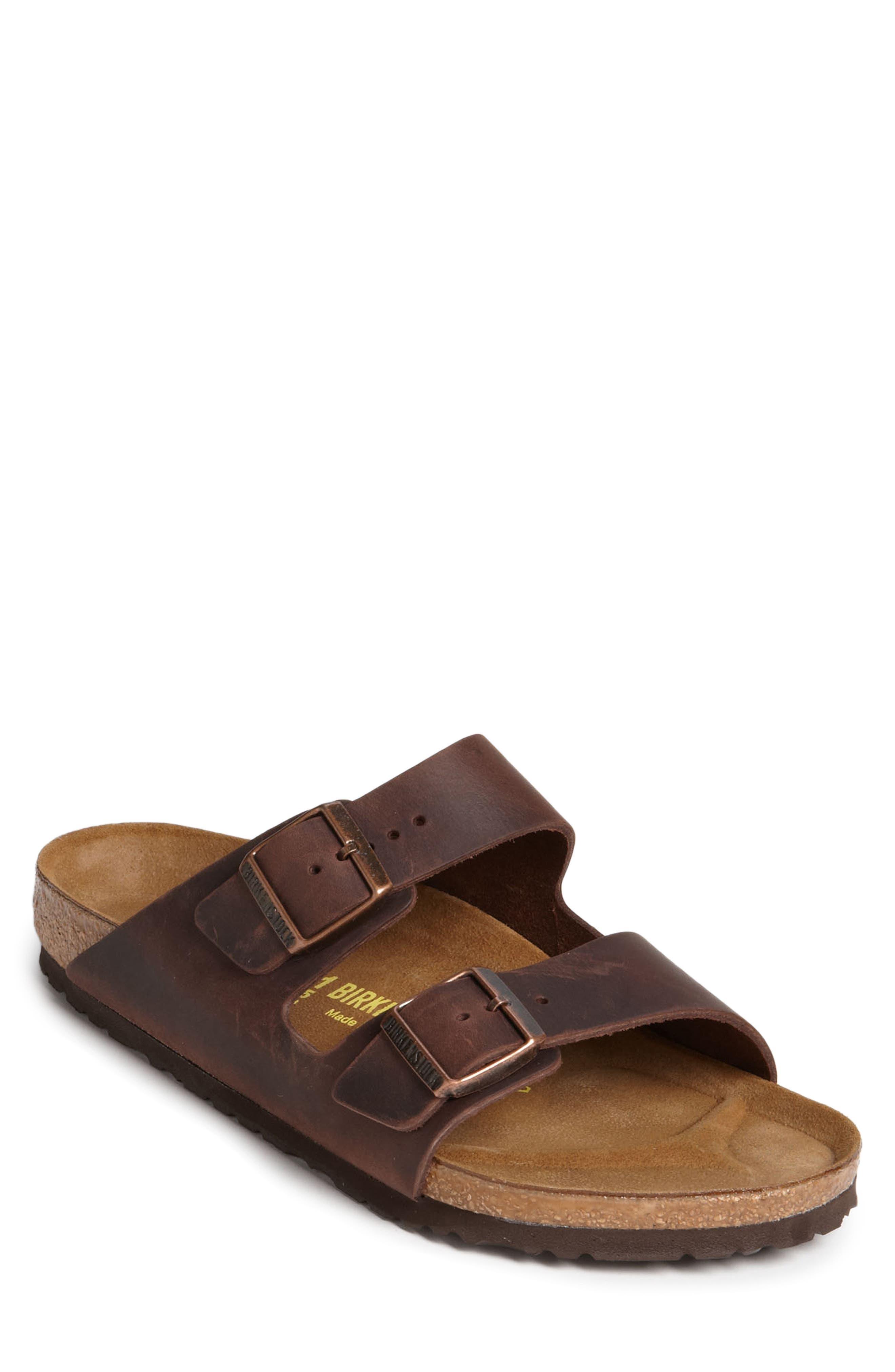 BIRKENSTOCK, Arizona Slide Sandal, Main thumbnail 1, color, HABANA OILED BROWN