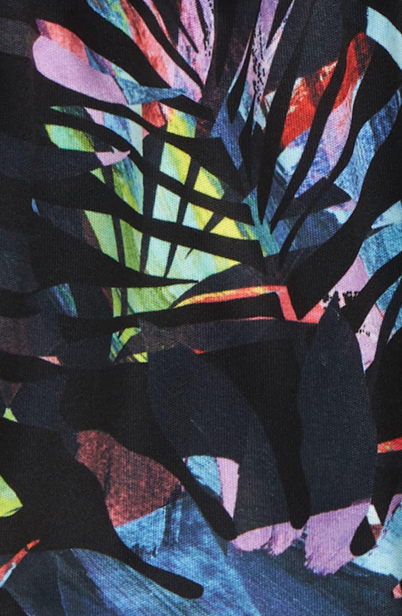 ZELLA GIRL, Zephyr Print Shorts, Alternate thumbnail 2, color, BLACK MULTI WATERCOLOR FROND
