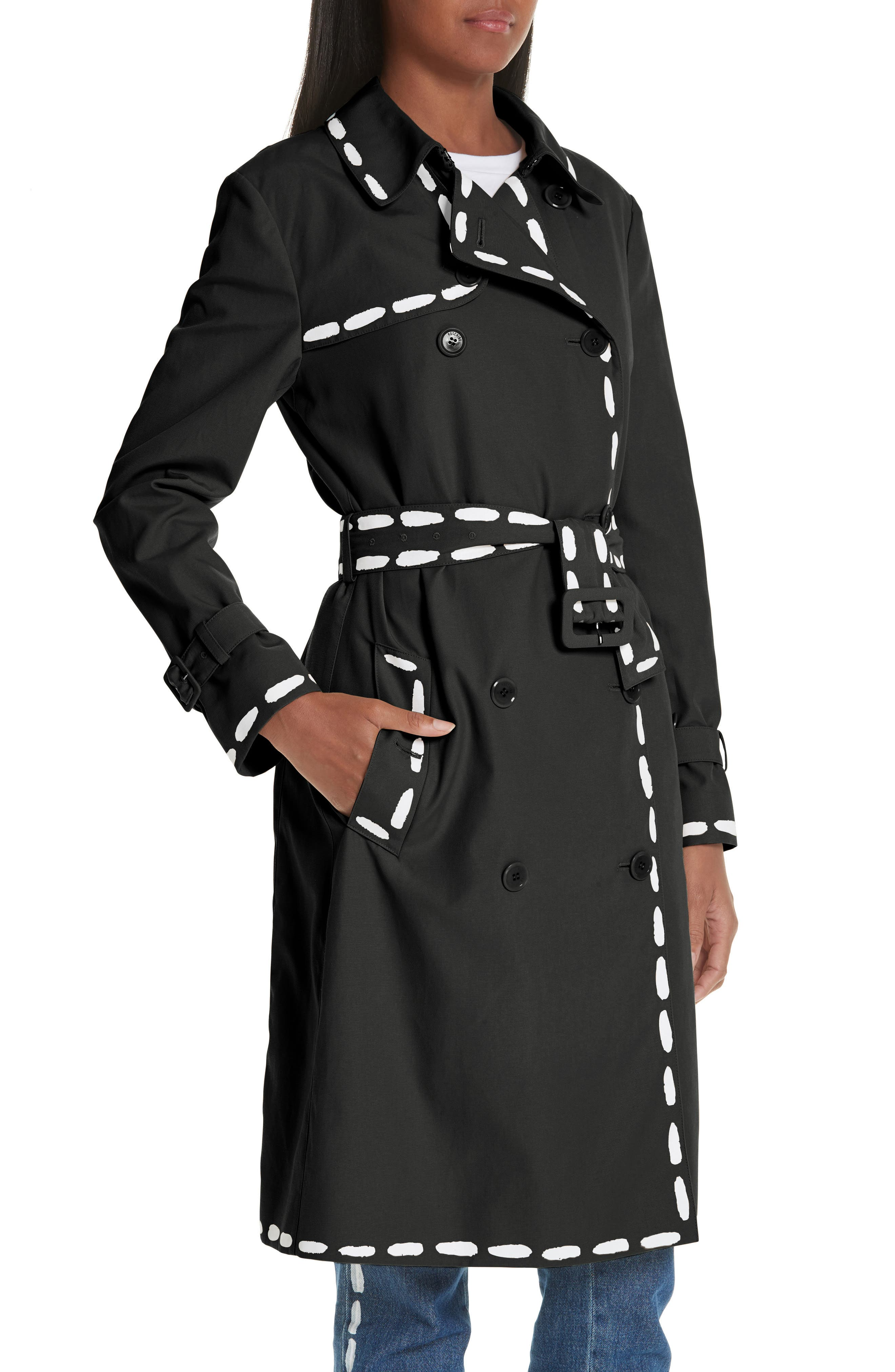 MOSCHINO, Dotted Line Trench Coat, Alternate thumbnail 4, color, BLACK