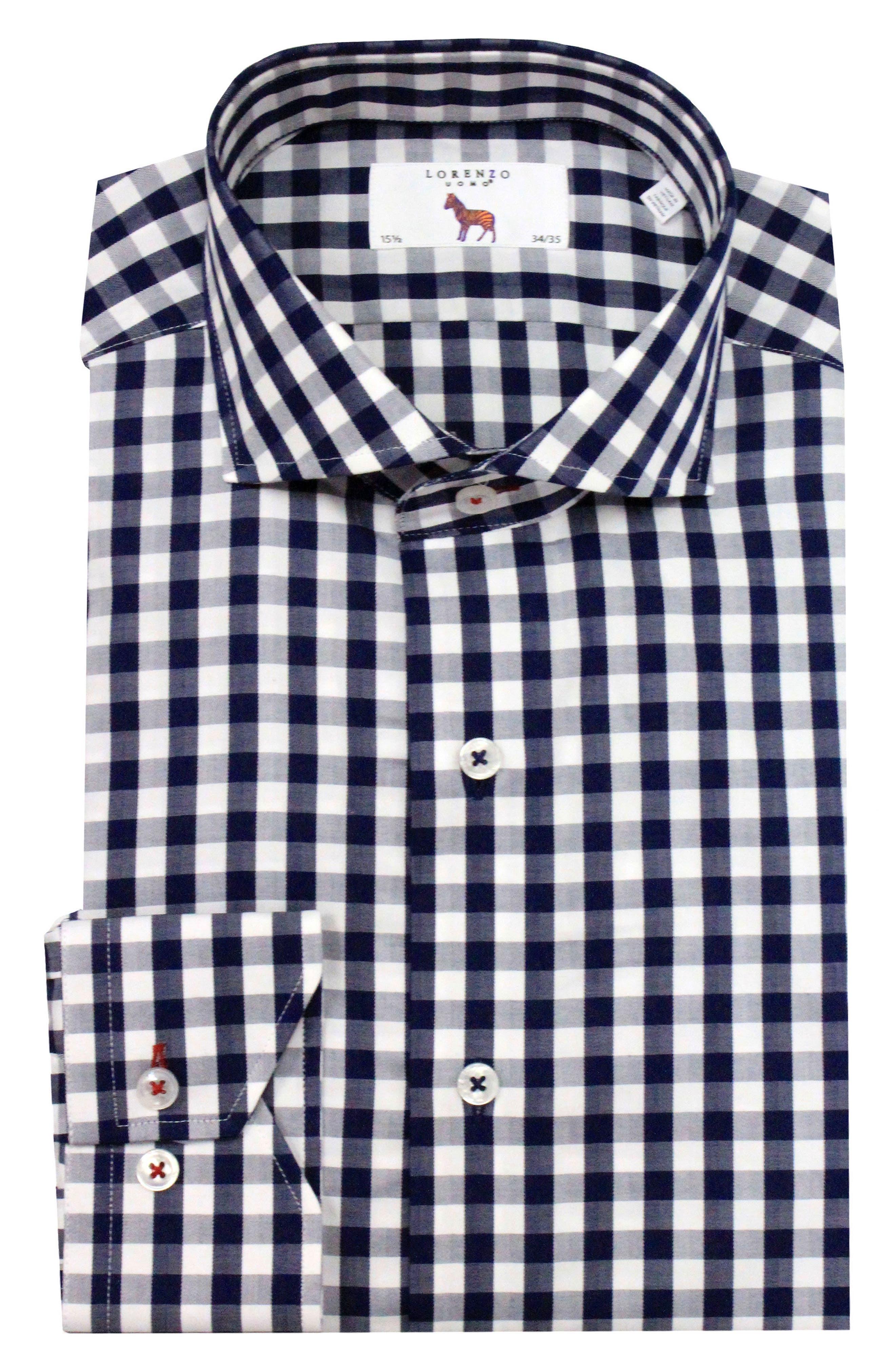 LORENZO UOMO, Trim Fit Gingham Dress Shirt, Main thumbnail 1, color, NAVY