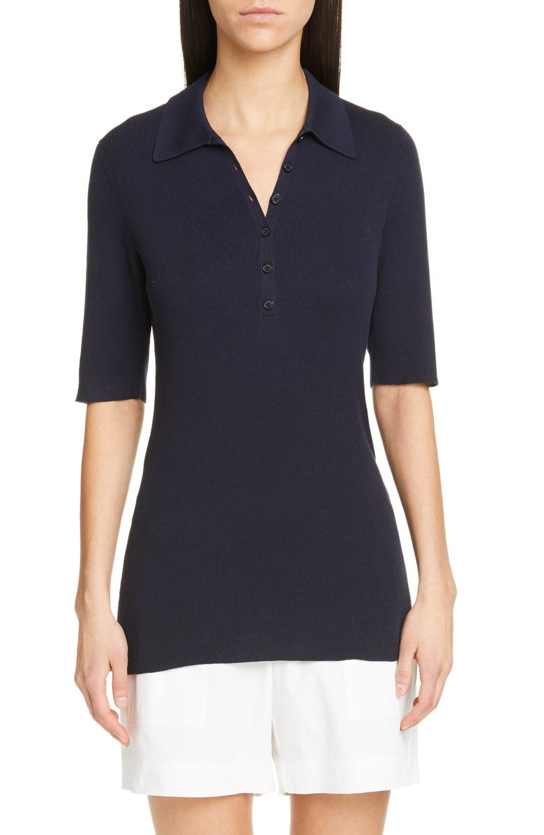 Lafayette 148 Knits RIB KNIT POLO SWEATER