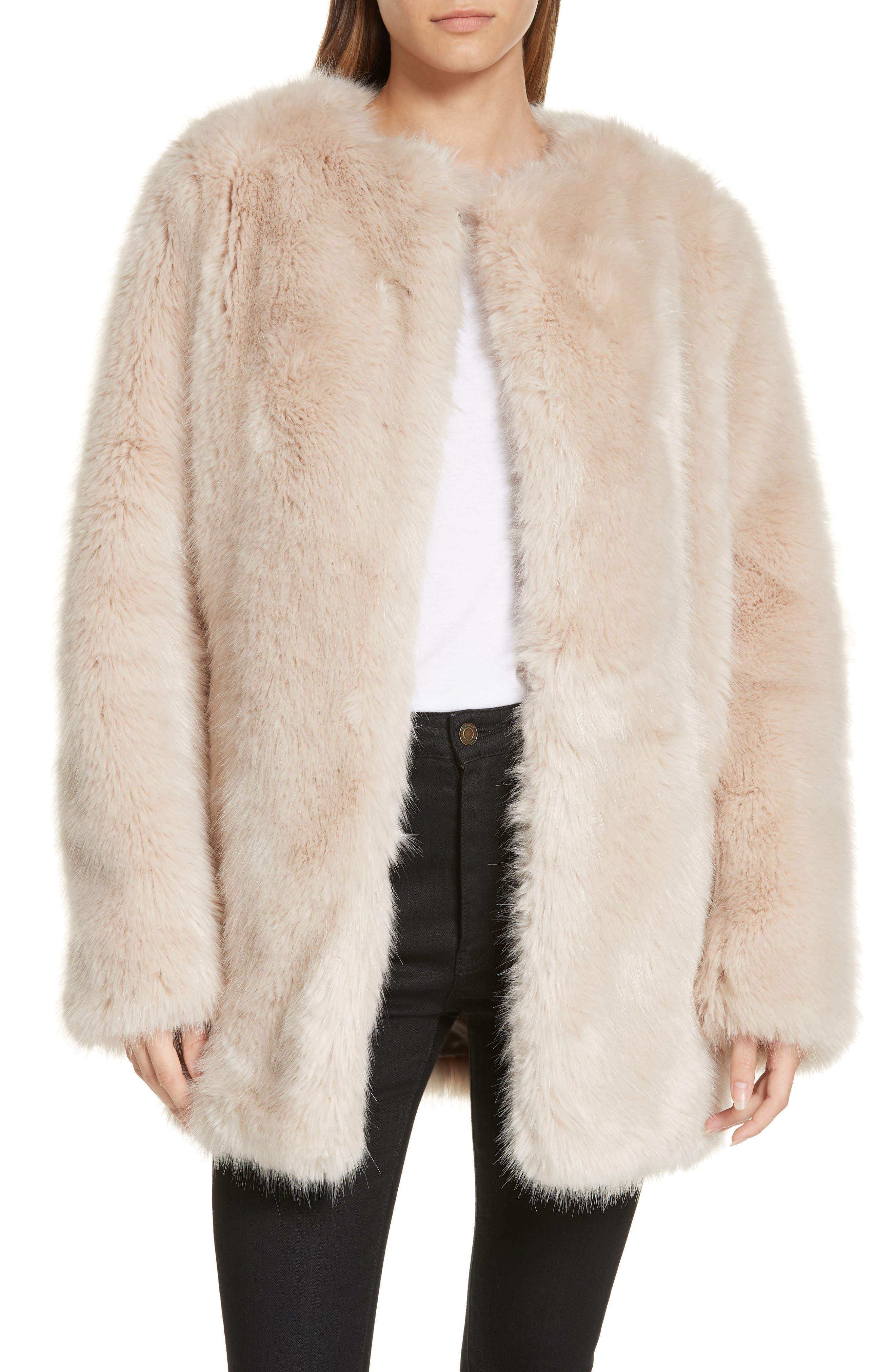HELMUT LANG, Faux Fur Coat, Main thumbnail 1, color, OATMEAL