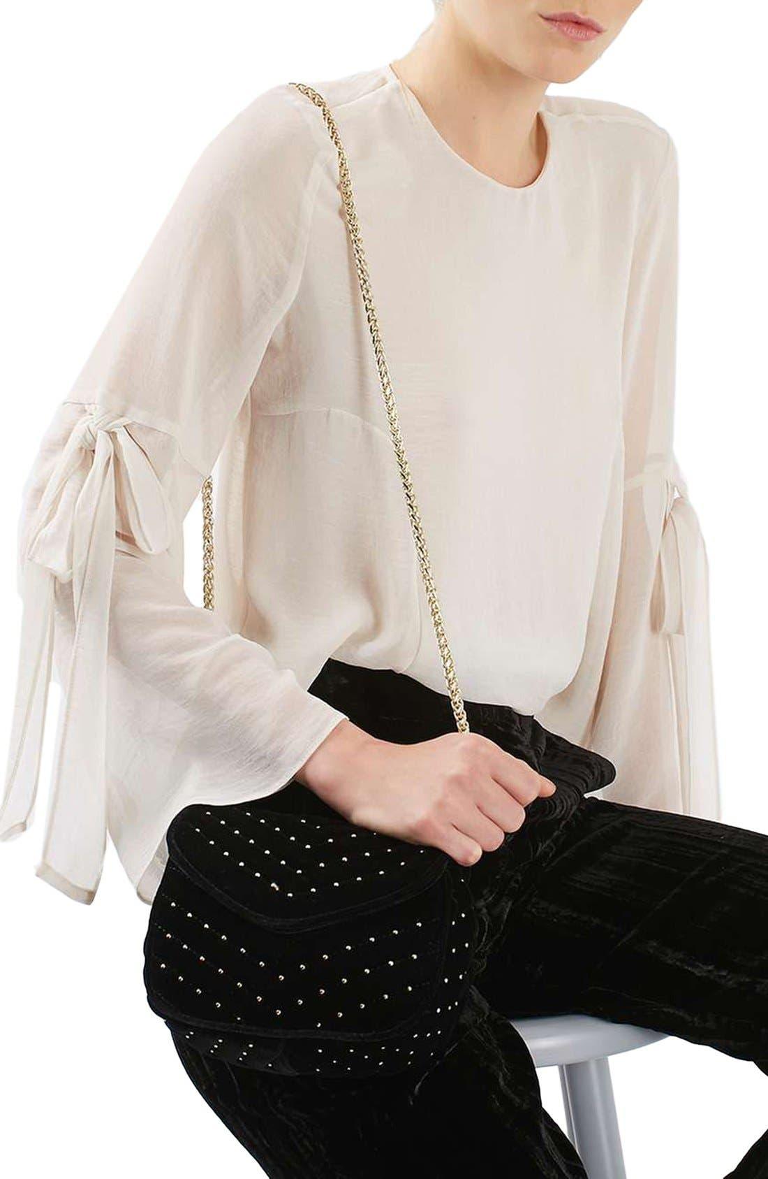 TOPSHOP, Embellished Velvet Crossbody Bag, Alternate thumbnail 3, color, 001