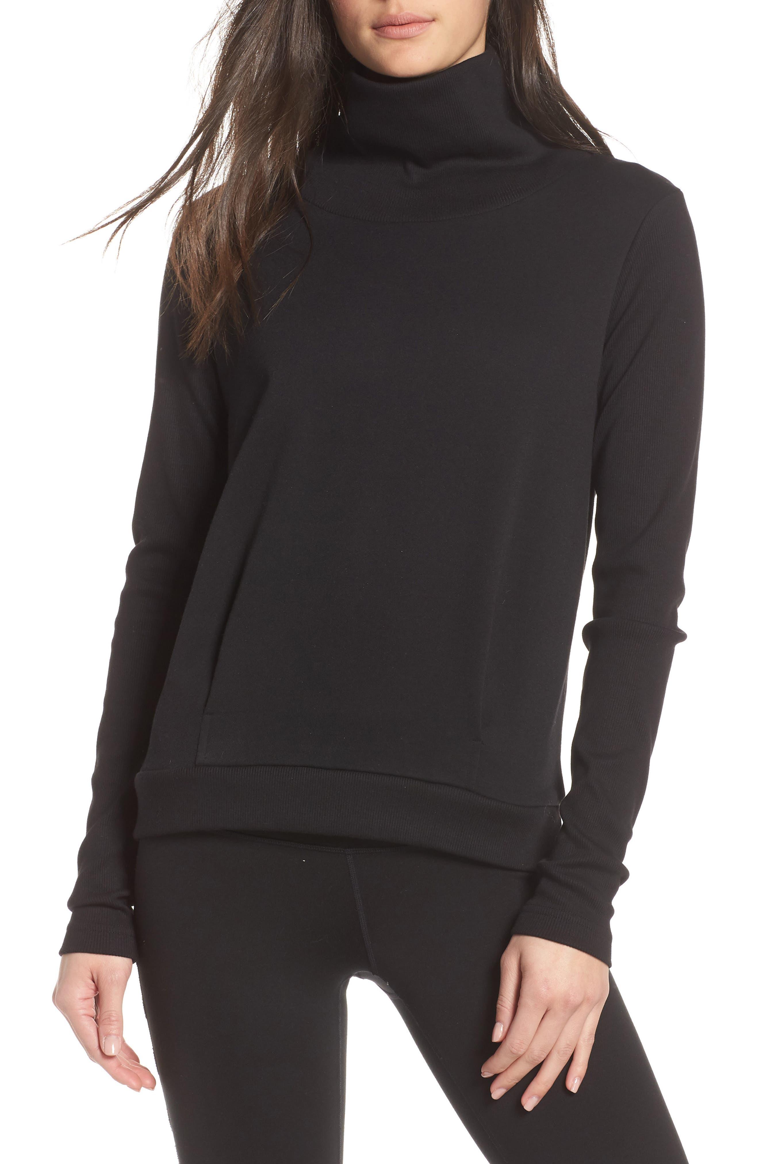 ALO, Clarity Long Sleeve Sweatshirt, Main thumbnail 1, color, BLACK