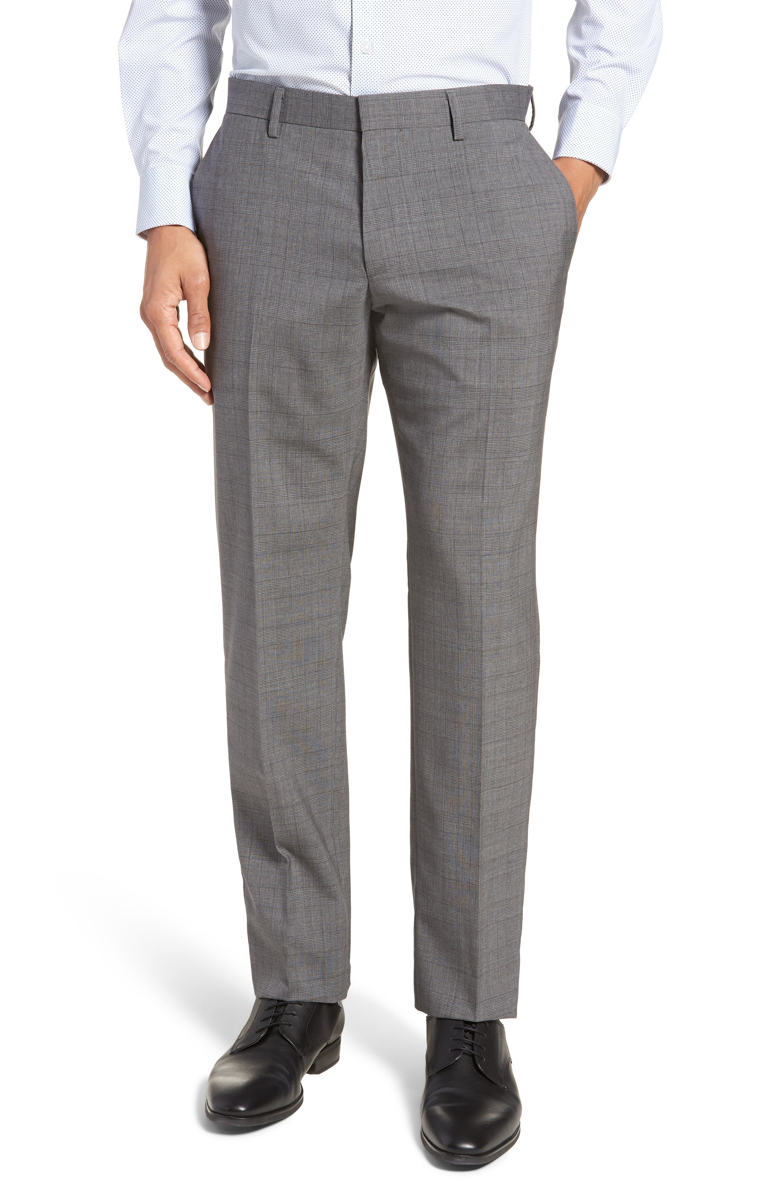 BOSS, Huge/Genius Trim Fit Plaid Wool Suit, Alternate thumbnail 6, color, 069
