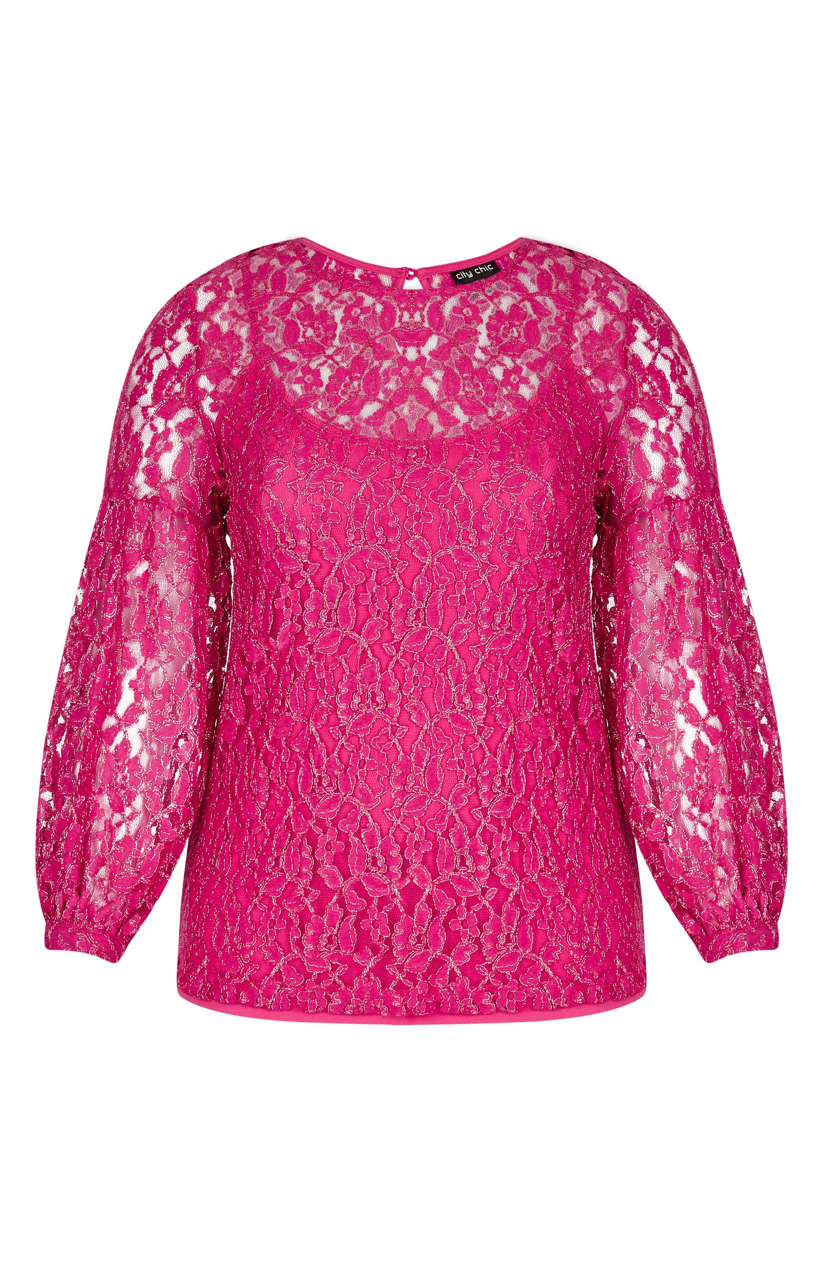 CITY CHIC, Metallic Detail Cotton Blend Lace Blouse, Alternate thumbnail 3, color, MAGENTA