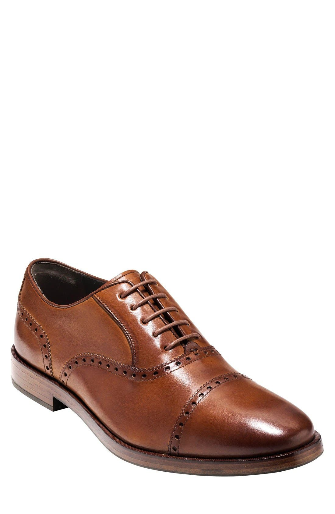 COLE HAAN, 'Hamilton' Cap Toe Oxford, Main thumbnail 1, color, BRITISH TAN LEATHER