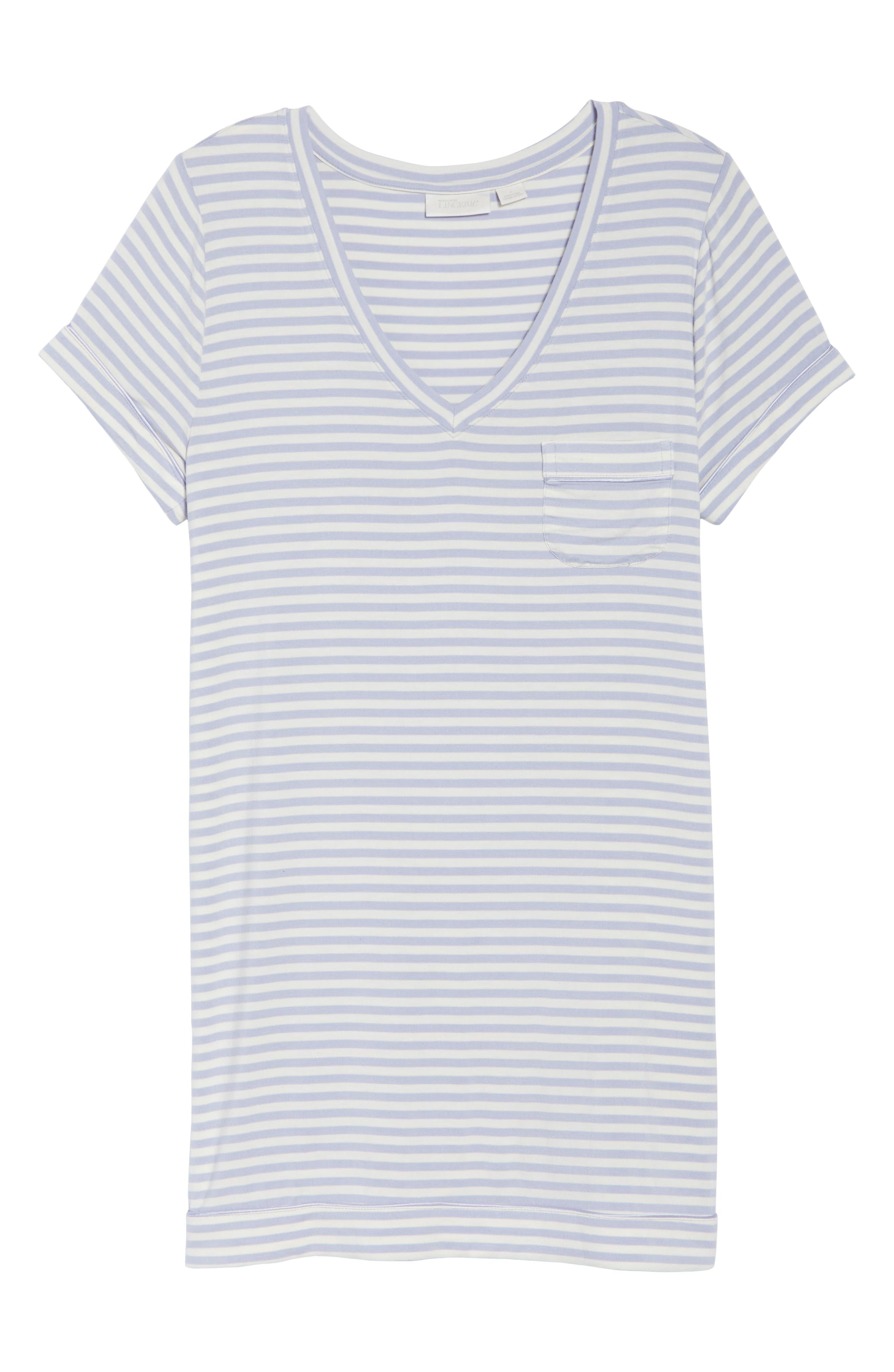 NORDSTROM LINGERIE, Moonlight Sleep Shirt, Alternate thumbnail 6, color, PURPLE COSMIC EVEN STRIPE