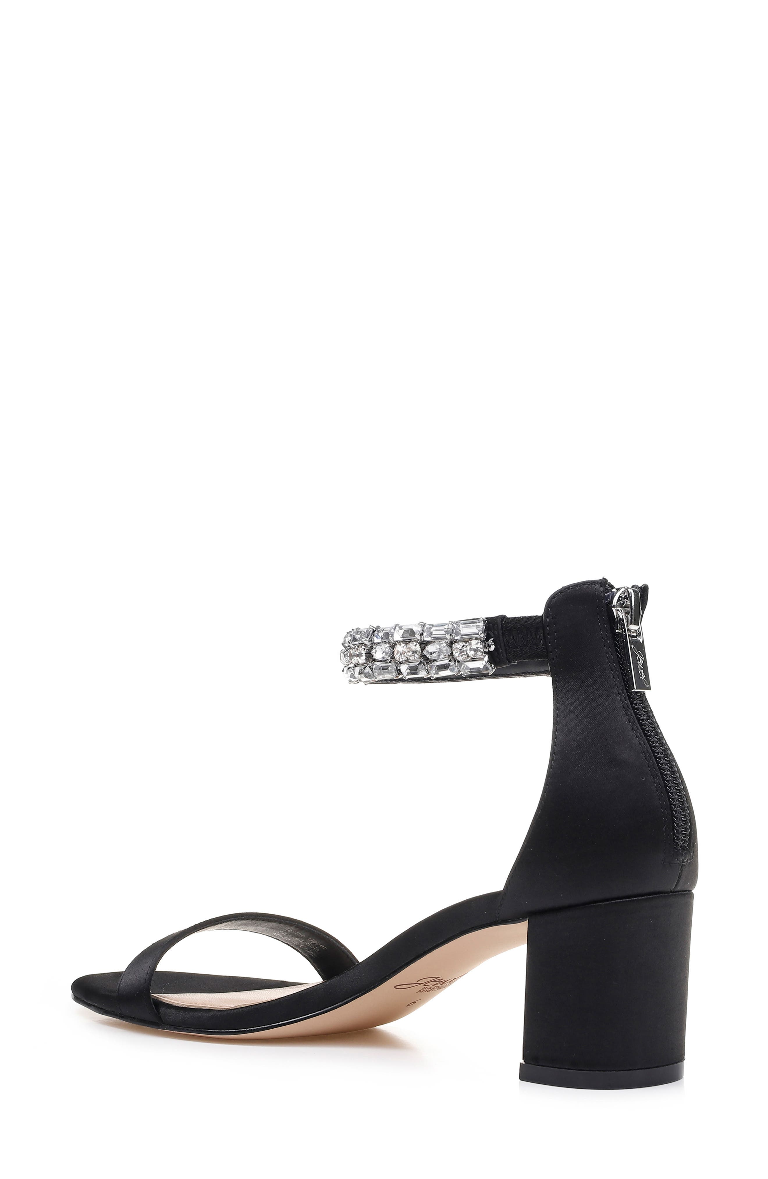 JEWEL BADGLEY MISCHKA, Katerina Ankle Strap Sandal, Alternate thumbnail 2, color, BLACK CRYSTAL SATIN
