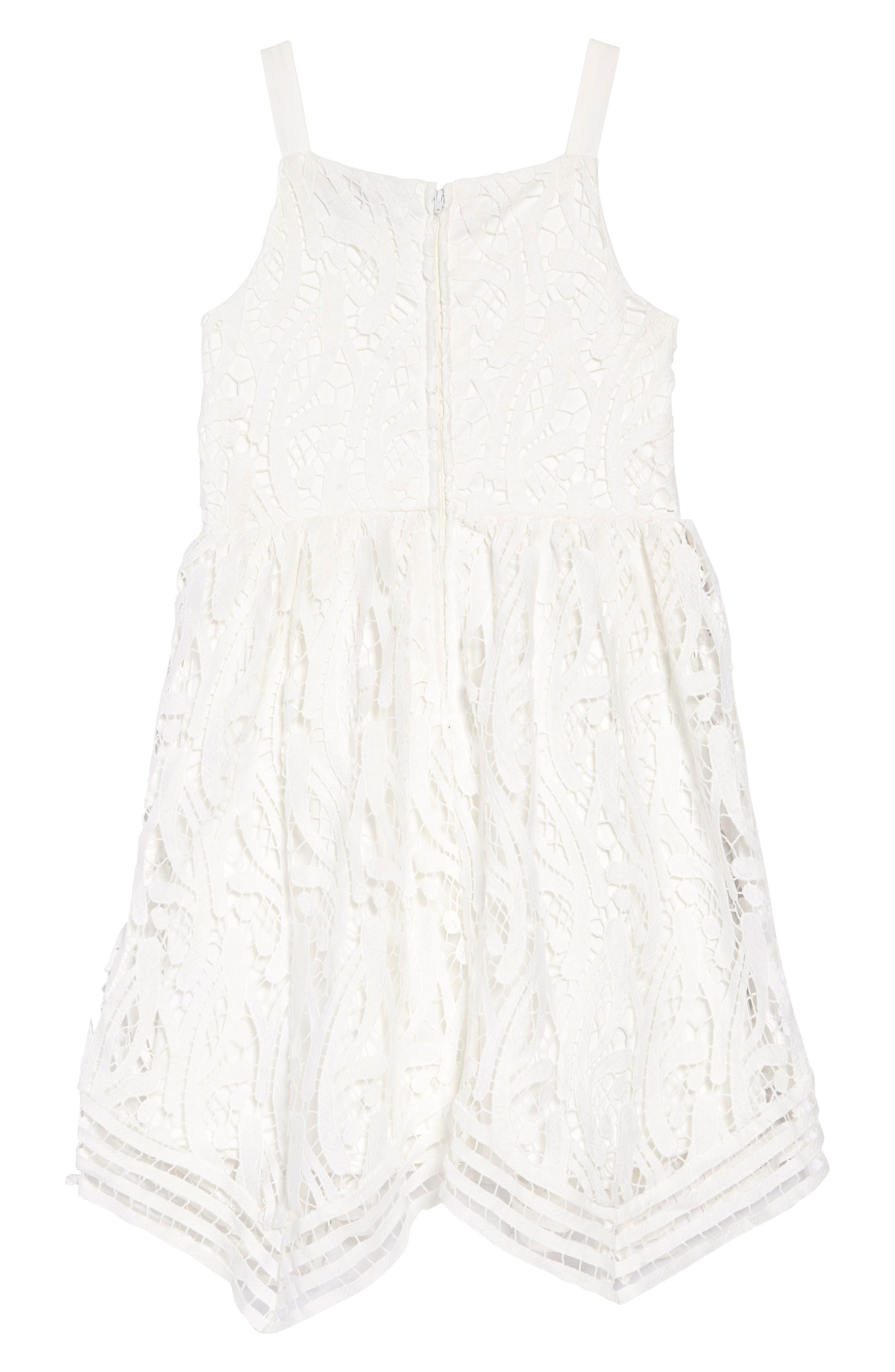 TRIXXI, Guipure Lace Dress, Alternate thumbnail 2, color, WHITE