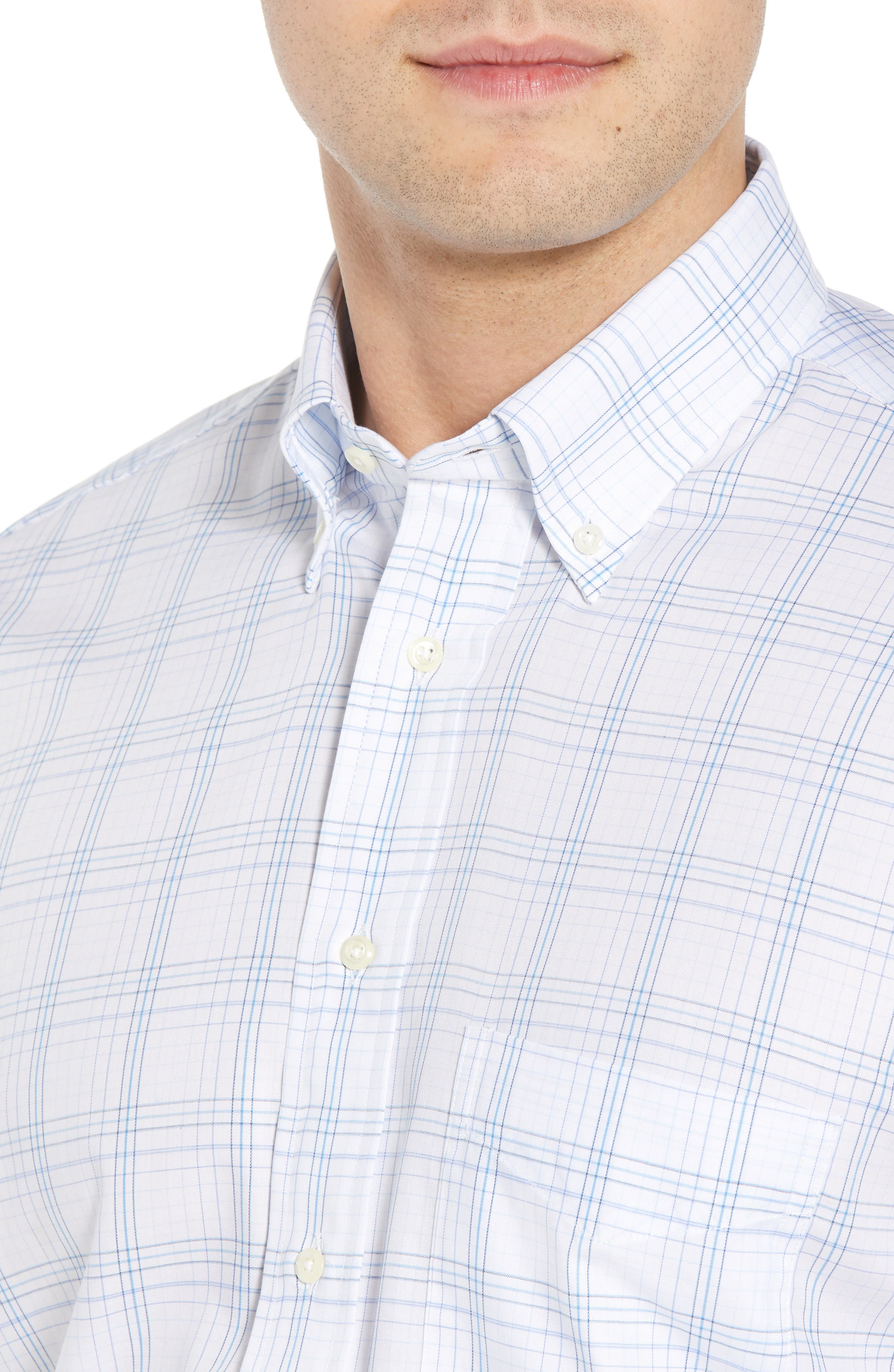 GITMAN, Tailored Fit Plaid Dress Shirt, Alternate thumbnail 2, color, BLUE