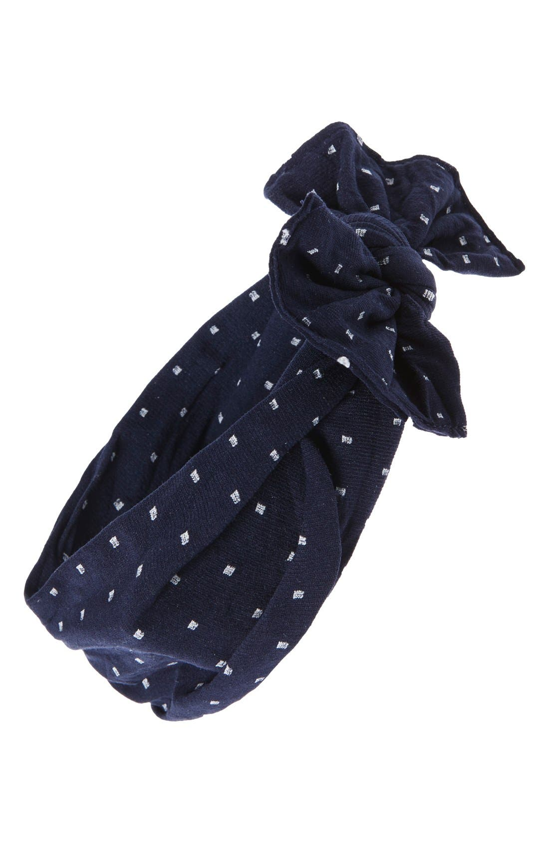 BABY BLING 'Dot Knot' Head Wrap, Main, color, NAVY/ WHITE DOT