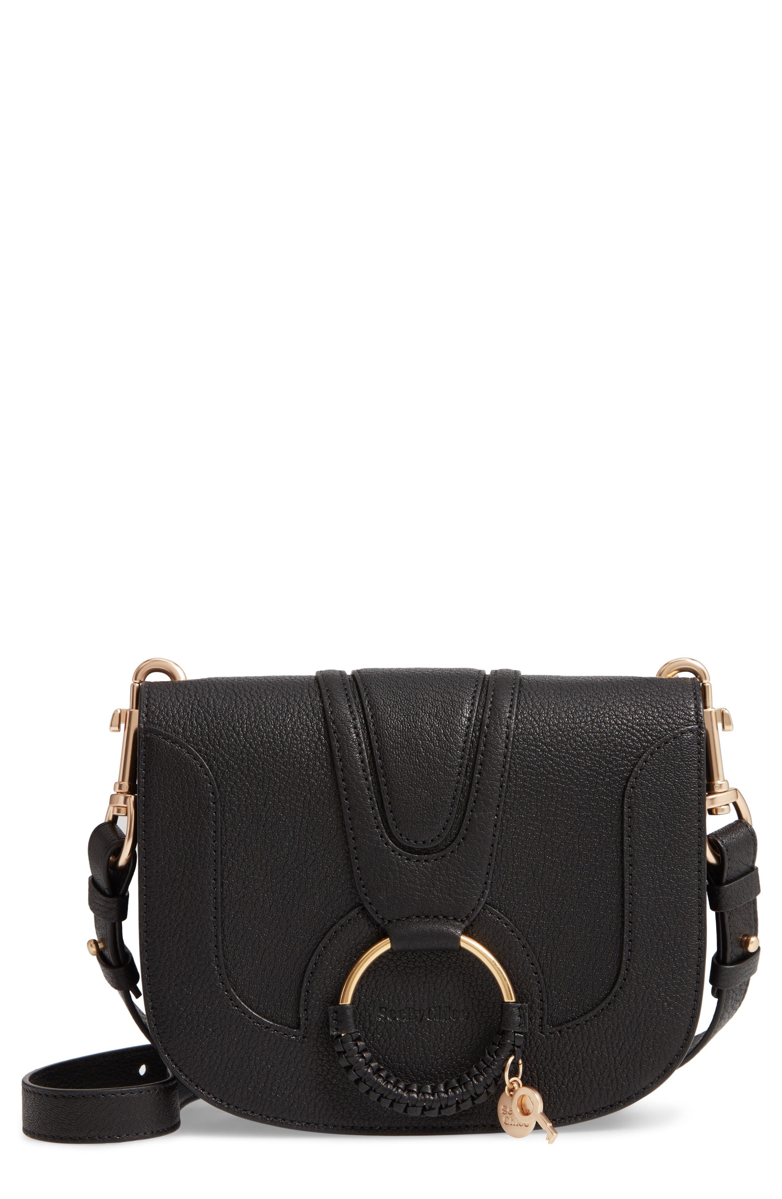 SEE BY CHLOÉ, Hana Small Leather Crossbody Bag, Main thumbnail 1, color, 001